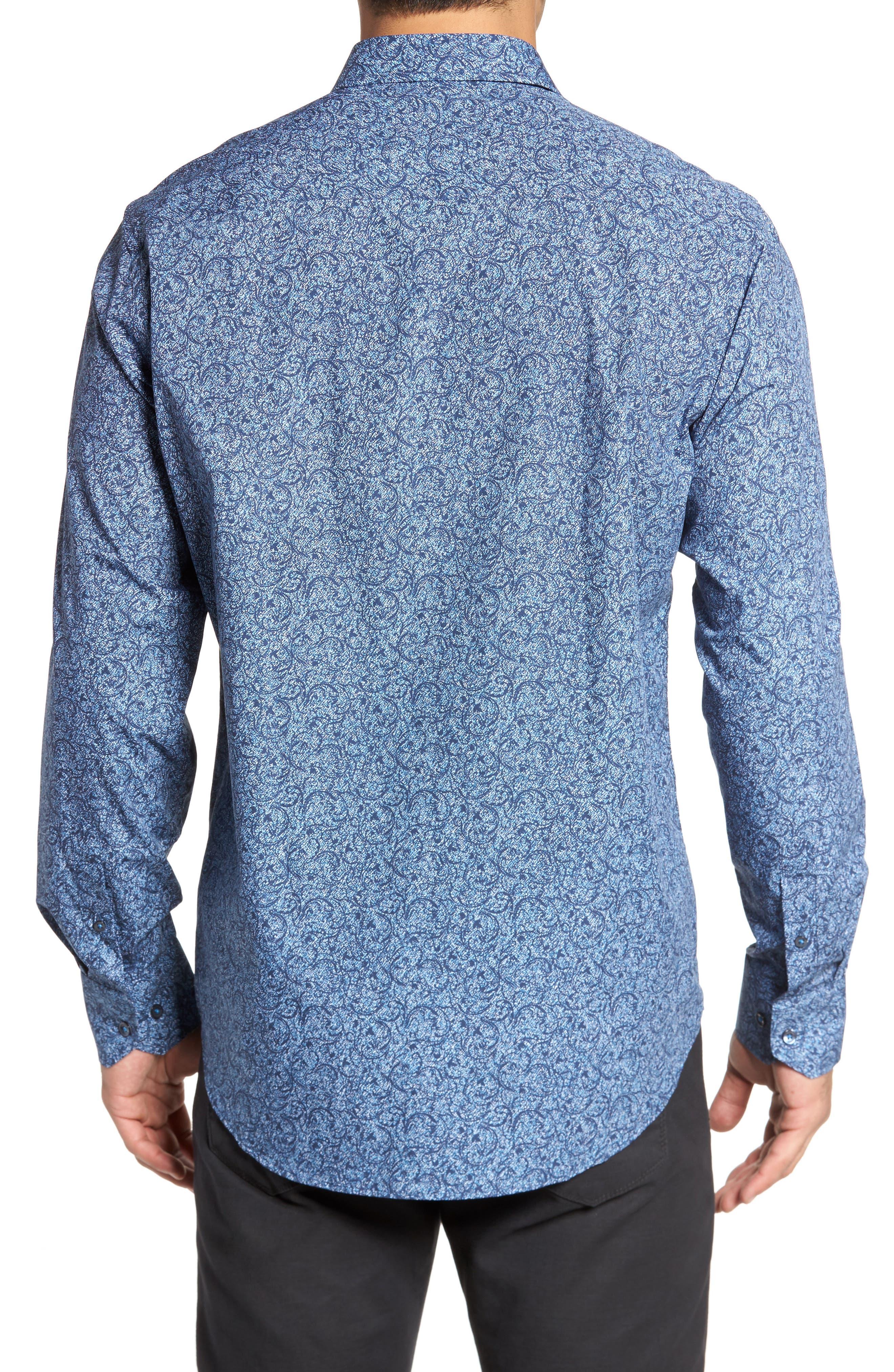 Alternate Image 2  - Bugatchi Classic Fit Scroll Print Sport Shirt