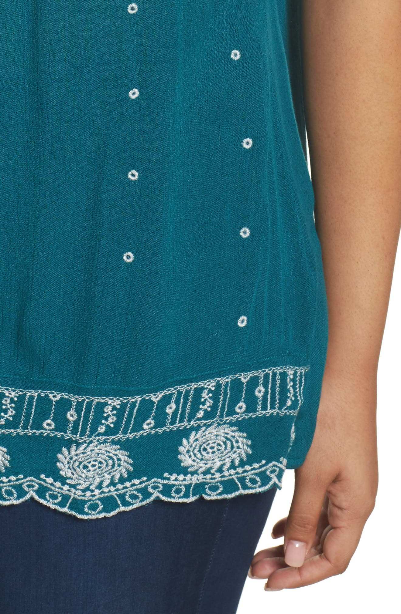 Embroidered Border Shell Top,                             Alternate thumbnail 4, color,                             Teal