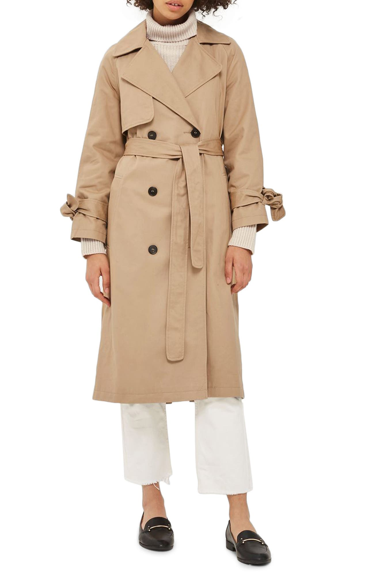 Editor's Double Breasted Trench Coat,                             Main thumbnail 1, color,                             Stone