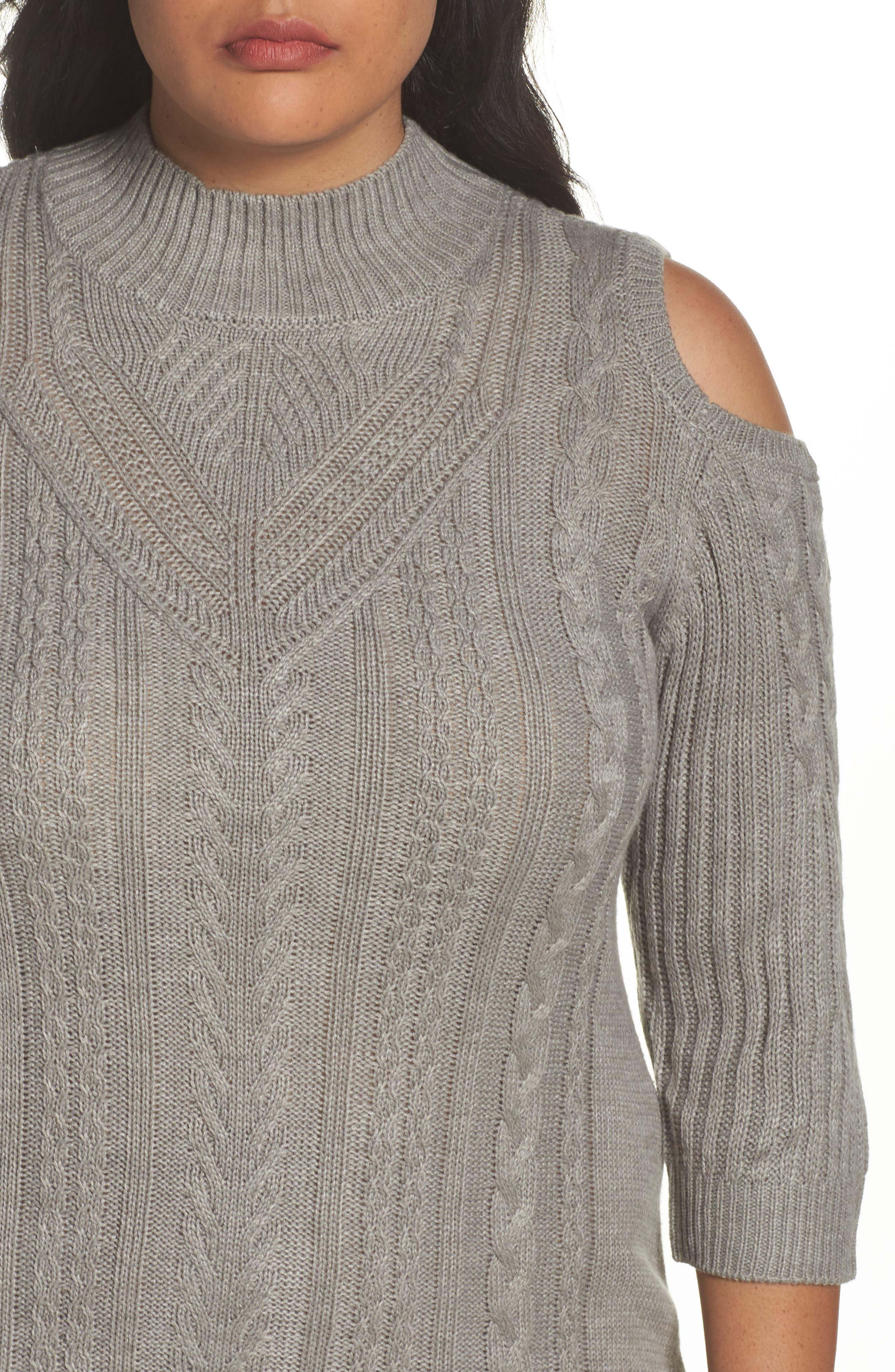 Cold Shoulder Cable Sweater Dress,                             Alternate thumbnail 4, color,                             Silver