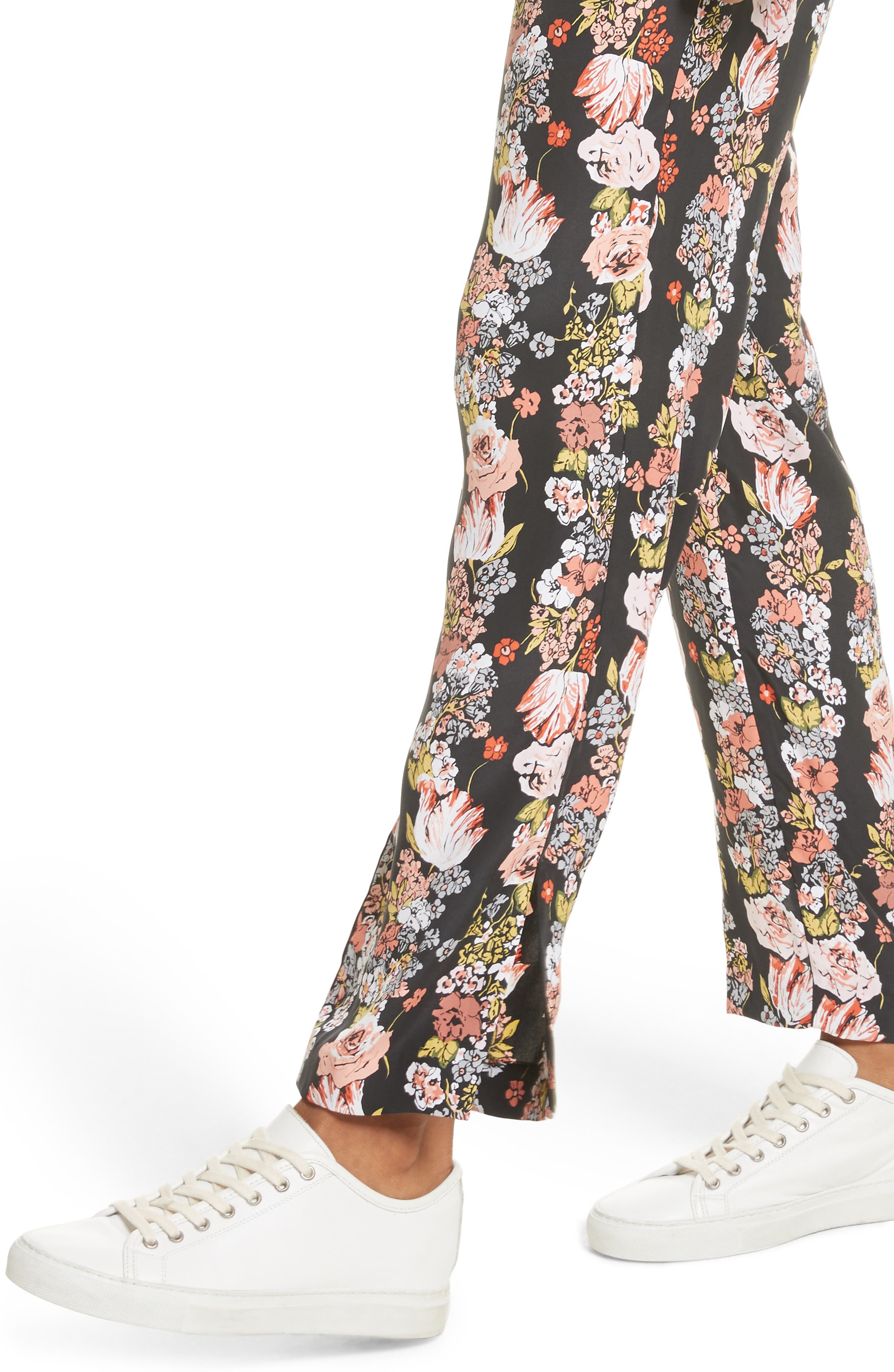 Florence Floral Silk Trousers,                             Alternate thumbnail 4, color,                             True Black Multi