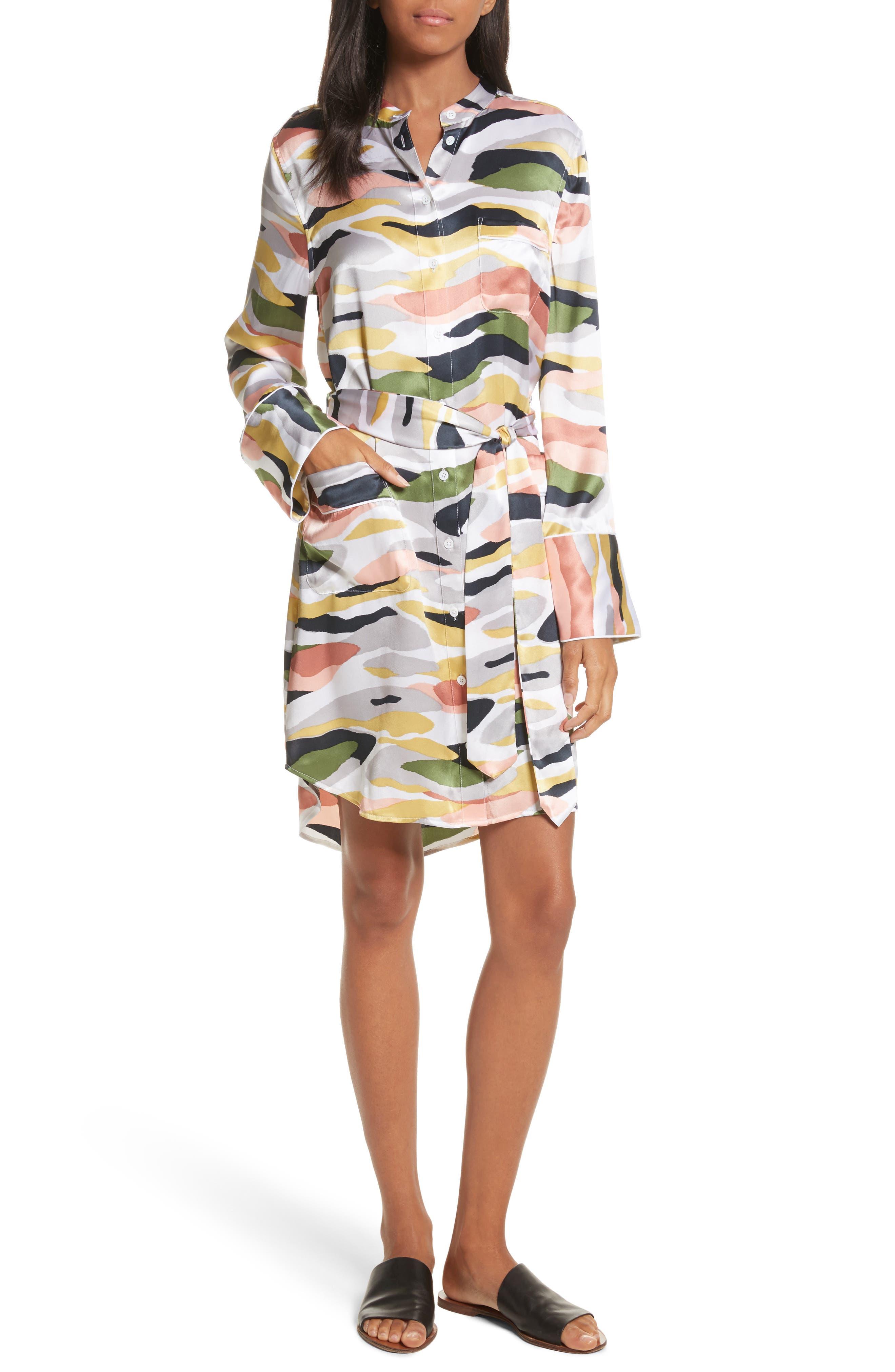 Britten Tie-Waist Silk Dress,                         Main,                         color, Bright White Multi