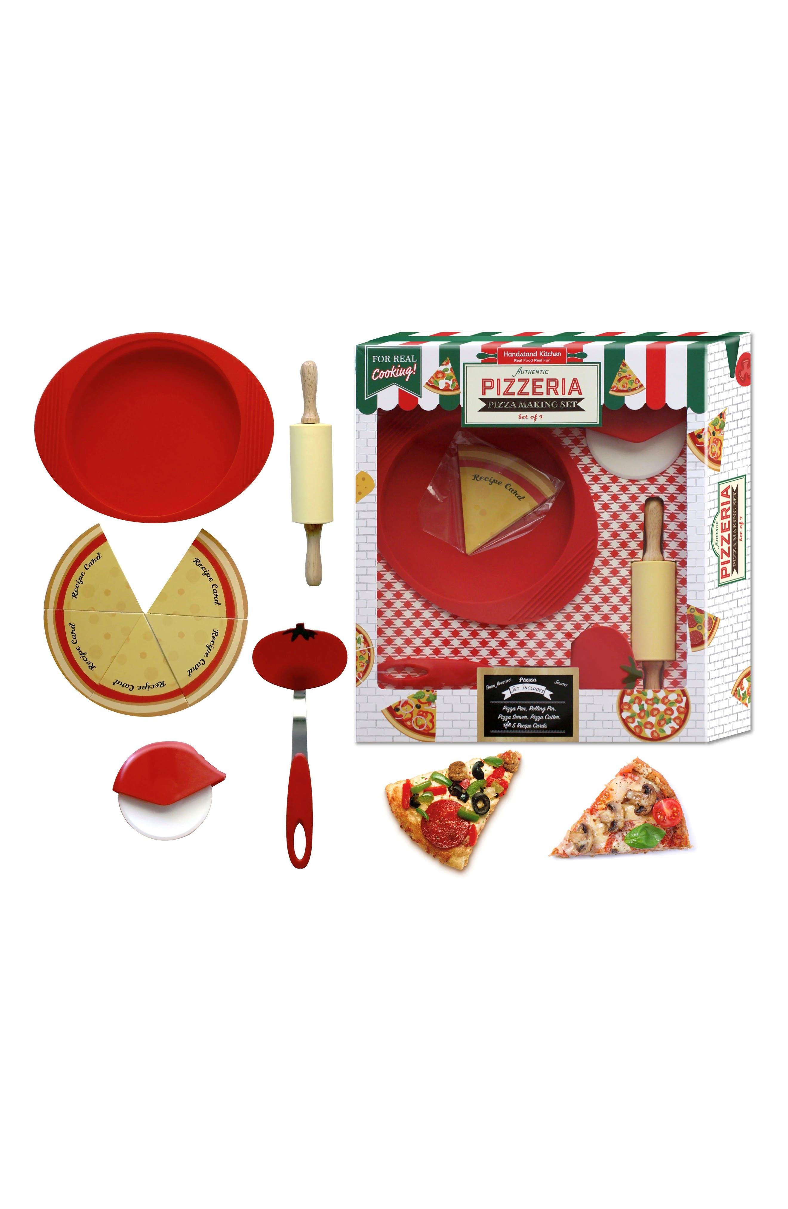 Handstand Kids Apron & Pizza Making Kit Gift Set,                             Alternate thumbnail 2, color,                             Blue