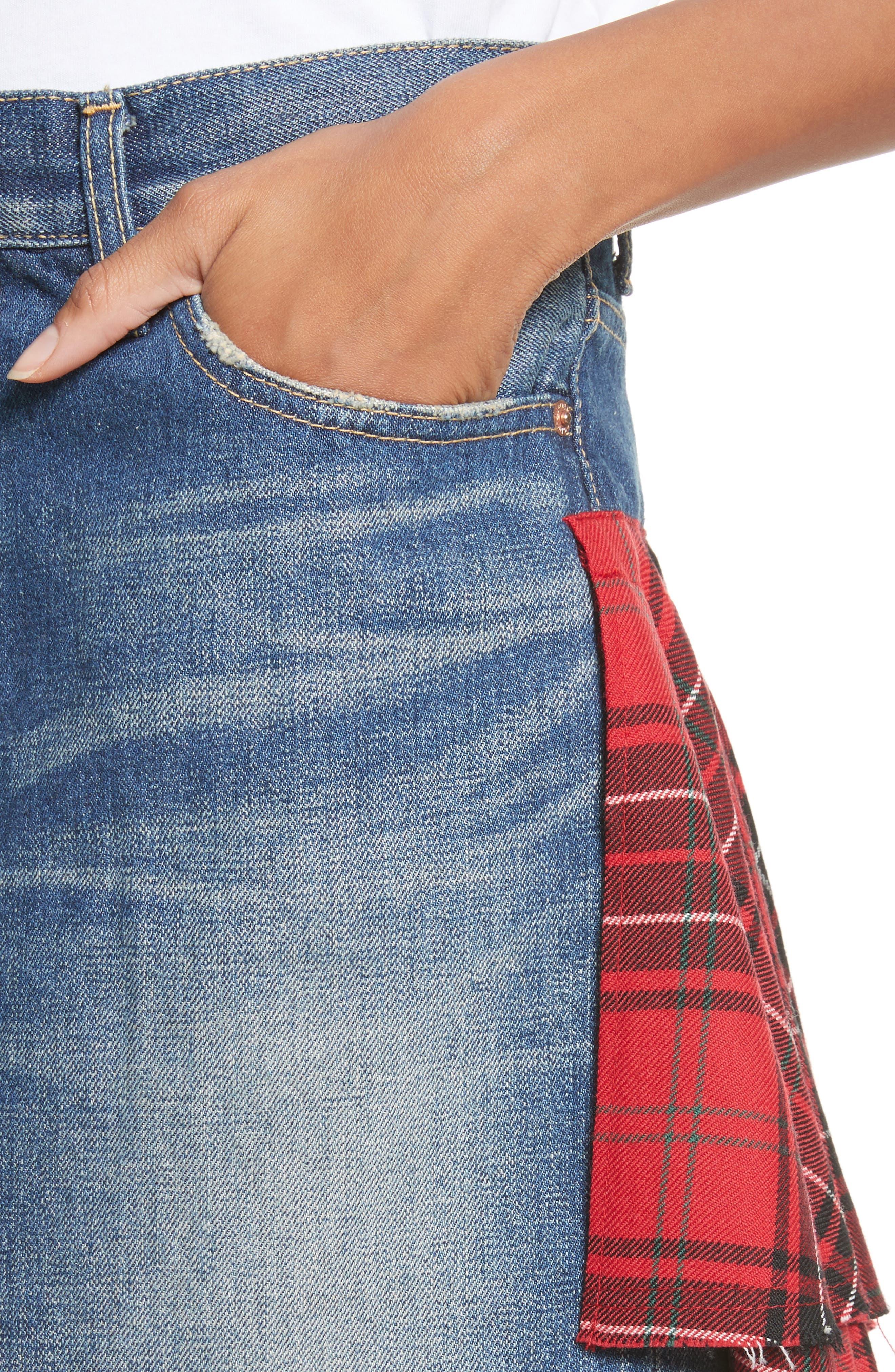 Tartan Back Denim Miniskirt,                             Alternate thumbnail 4, color,                             Indigo X Mix