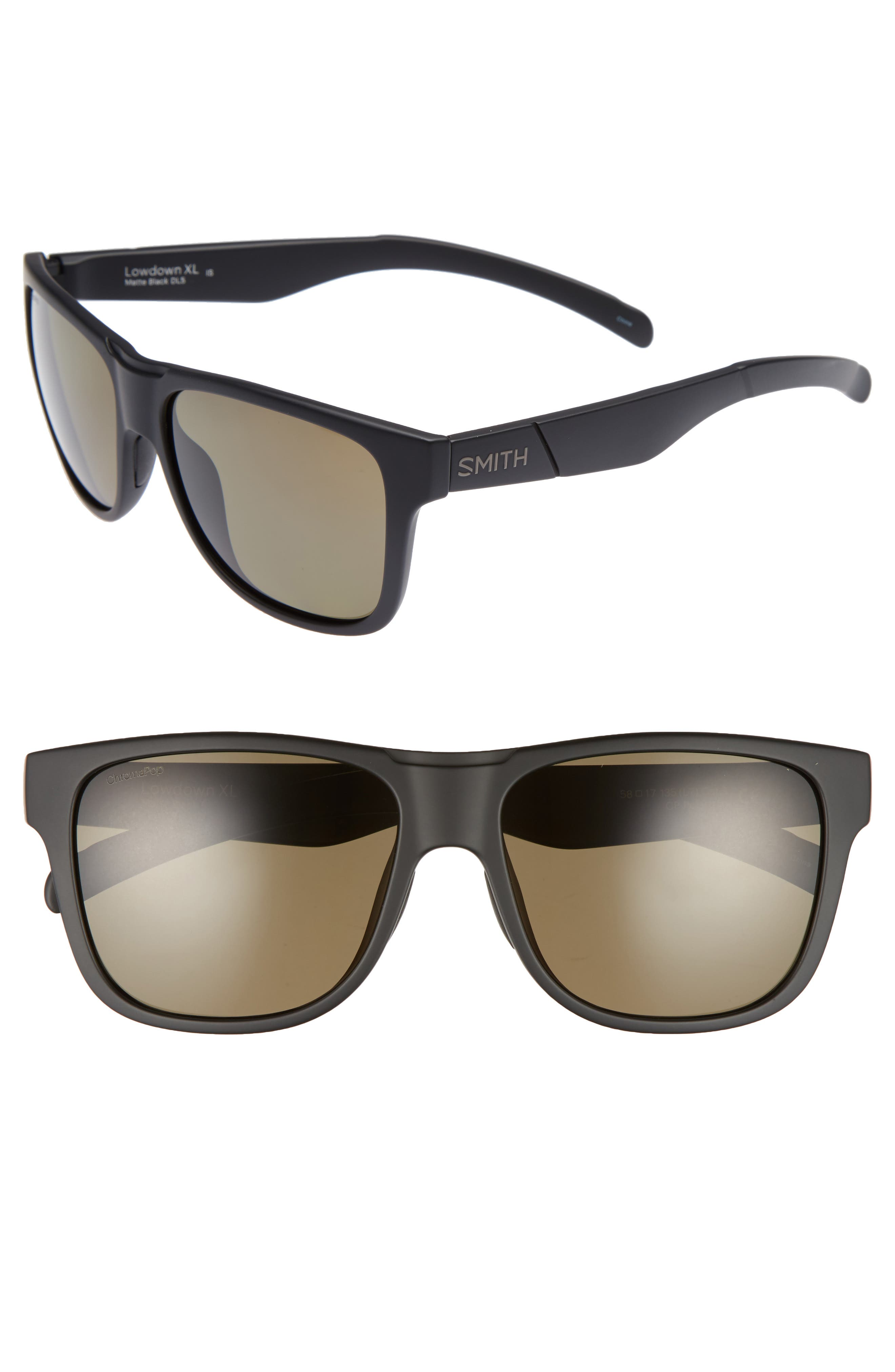 Lowdown XL 58mm Polarized Sunglasses,                         Main,                         color, Matte Black/ Gray Green