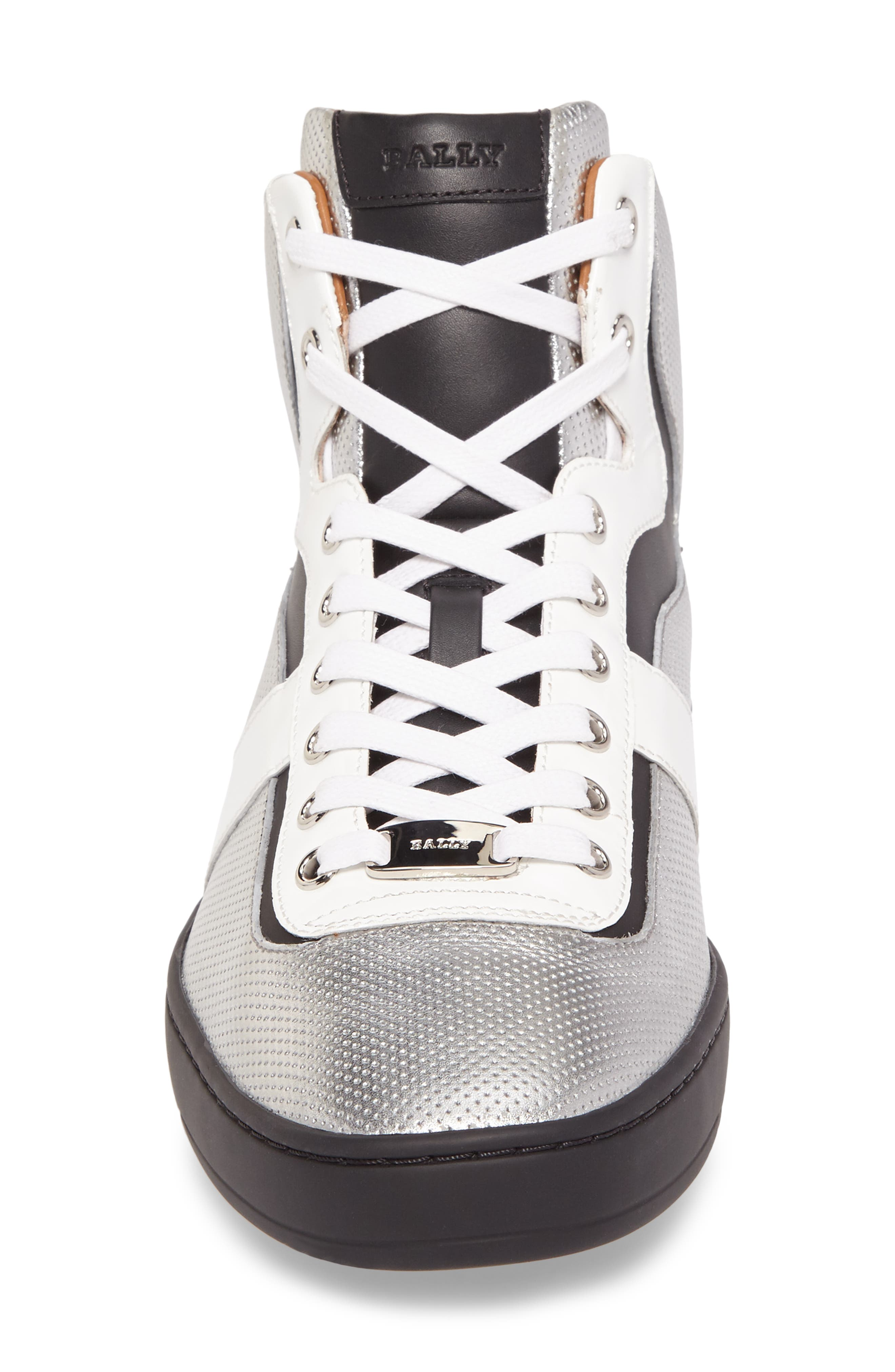 Eroy High Top Sneaker,                             Alternate thumbnail 4, color,                             Silver