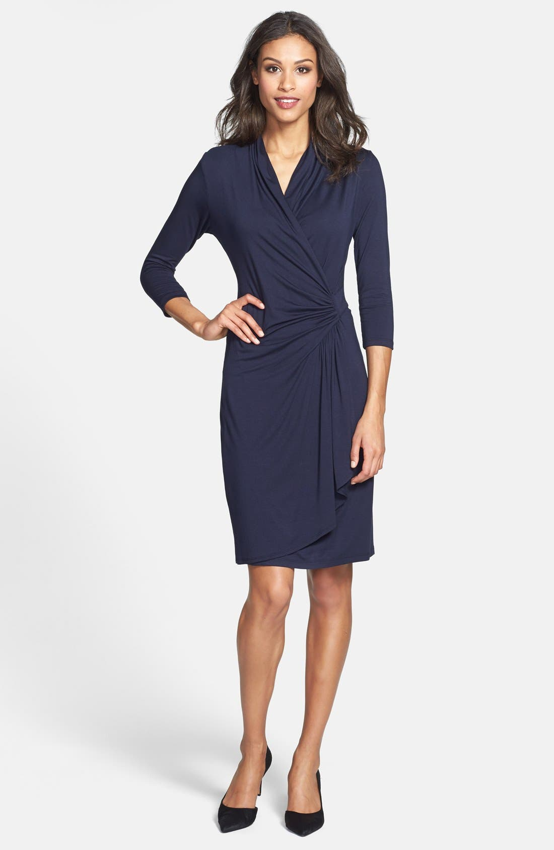 Main Image - Karen Kane Cascade Faux Wrap Dress (Regular & Petite)