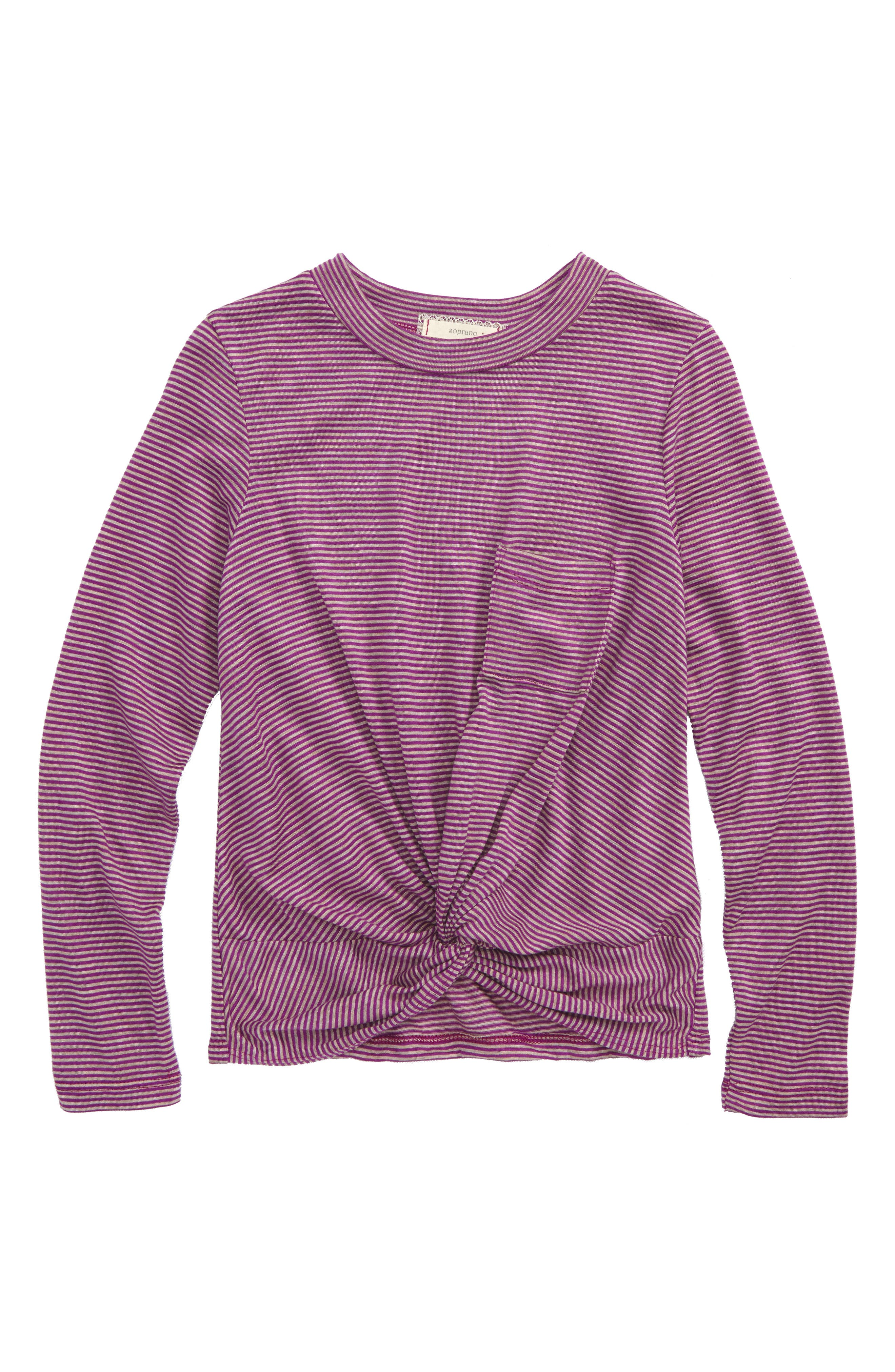 Soprano Knot Front Stripe Top (Big Girls)
