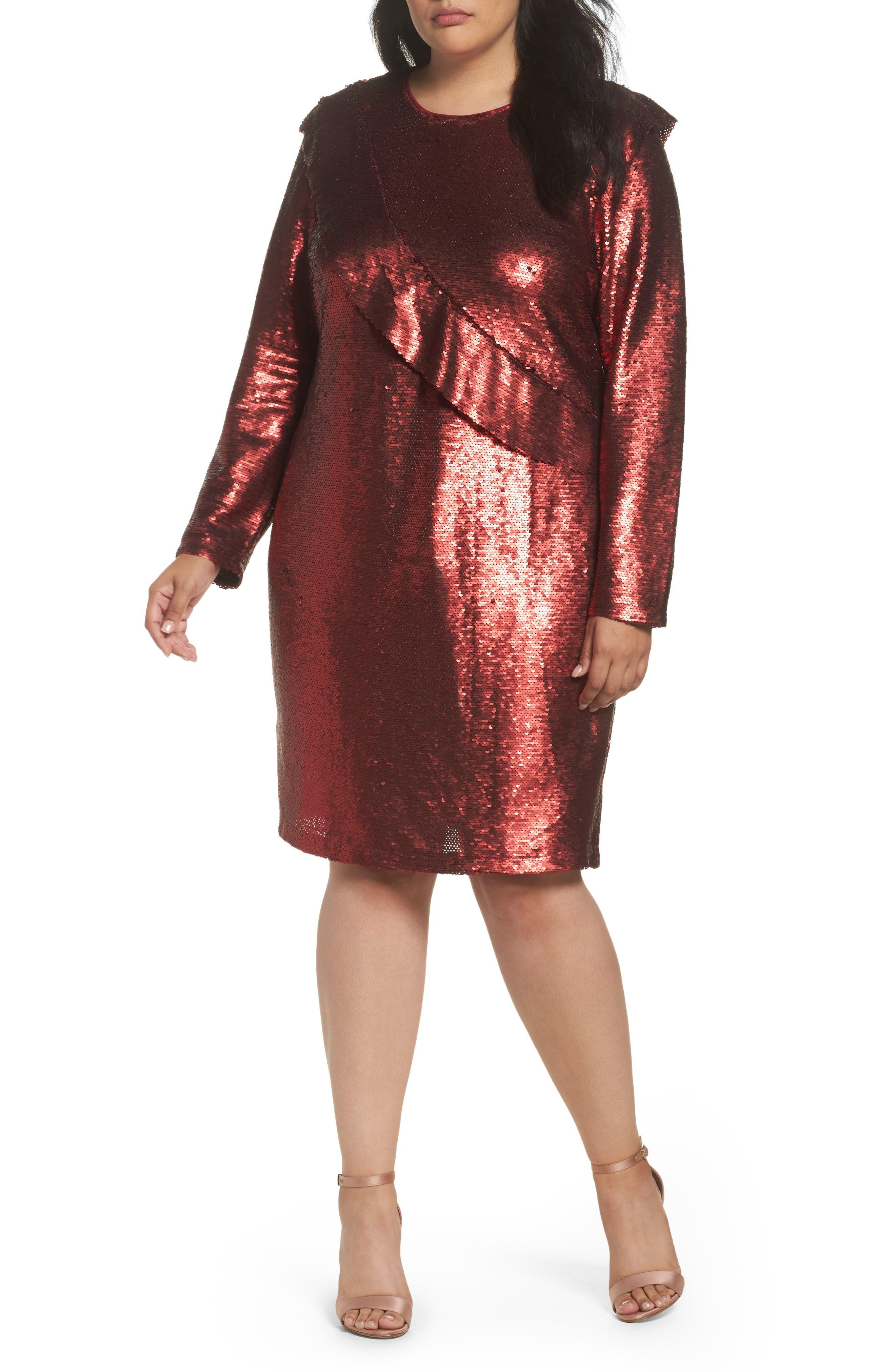 Main Image - Glamorous Sequin Ruffle Dress (Plus Size)