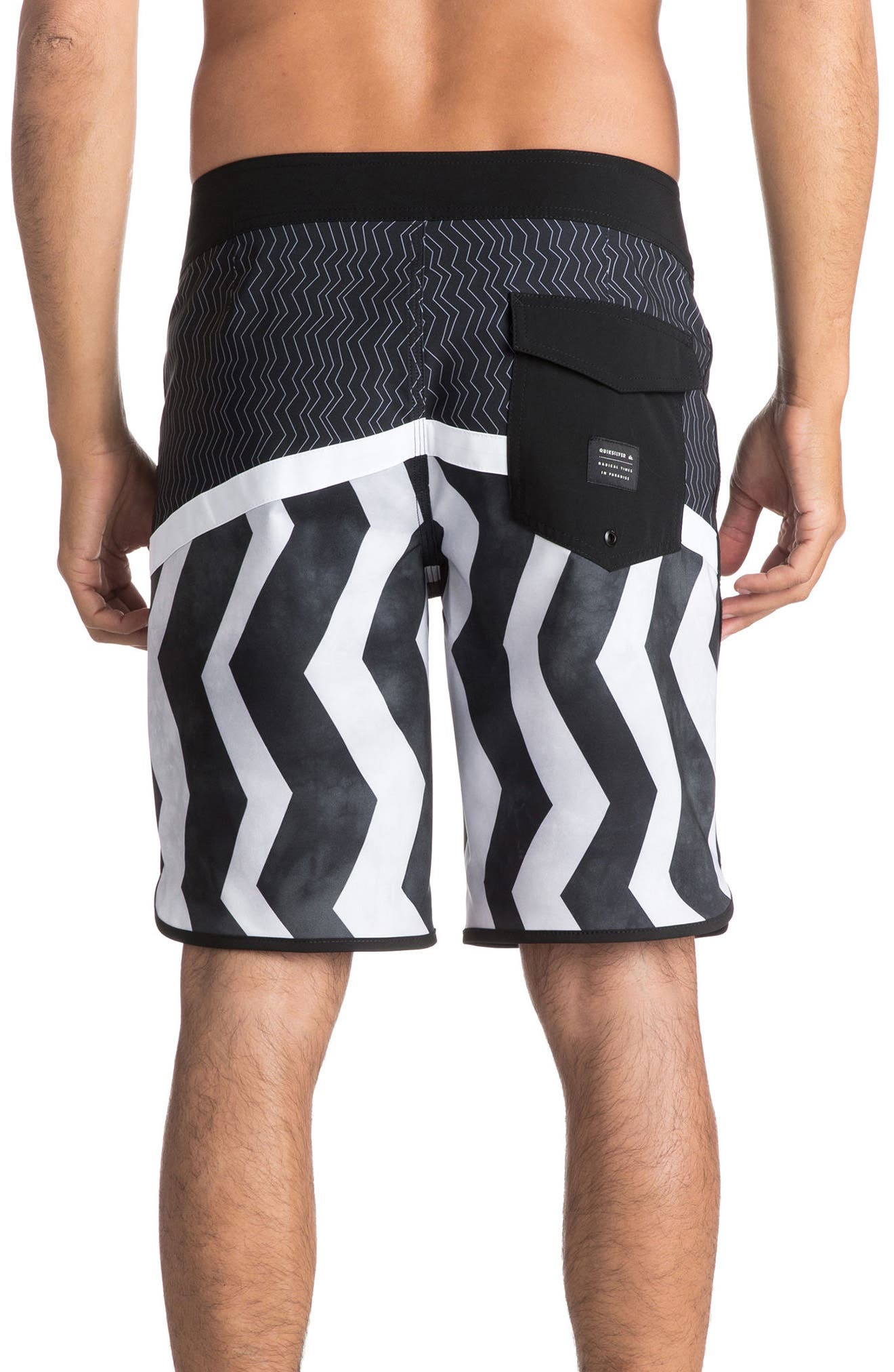 Crypto Zigzig Board Shorts,                             Alternate thumbnail 2, color,                             Black