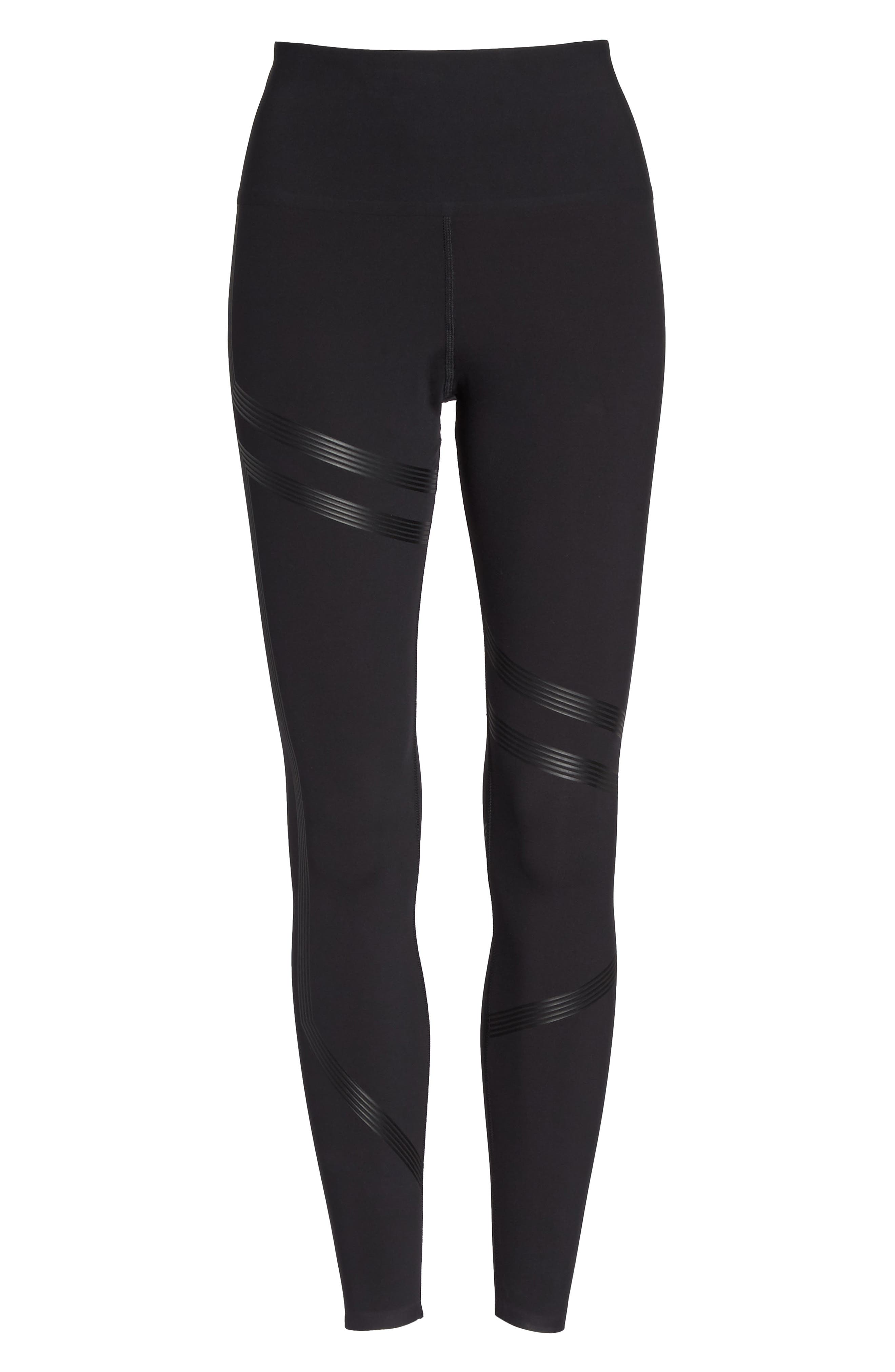 Linear High Rise Performance Tights,                             Alternate thumbnail 6, color,                             Black