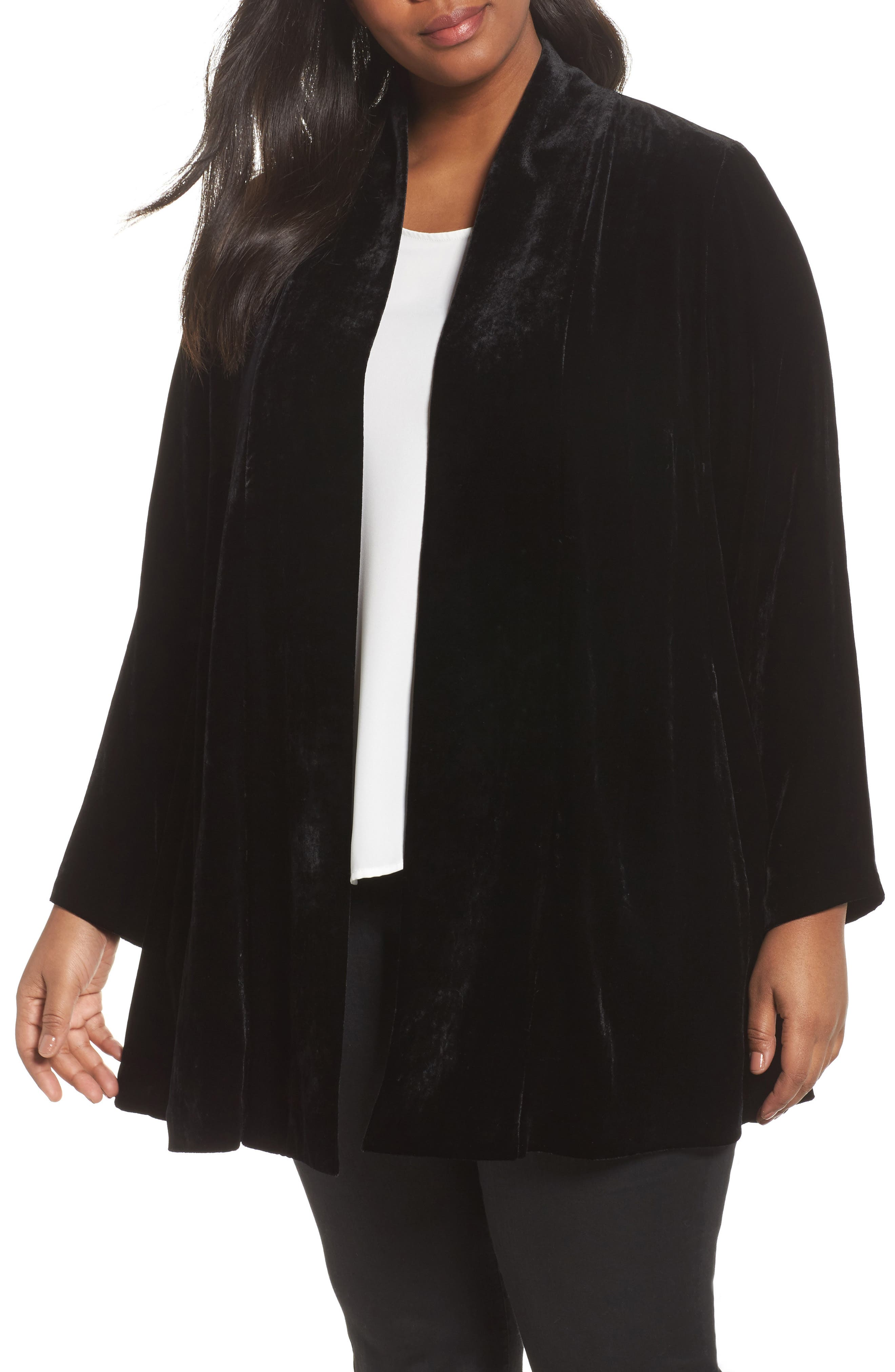 Alternate Image 1 Selected - Eileen Fisher Shawl Collar Velvet Jacket (Plus Size)
