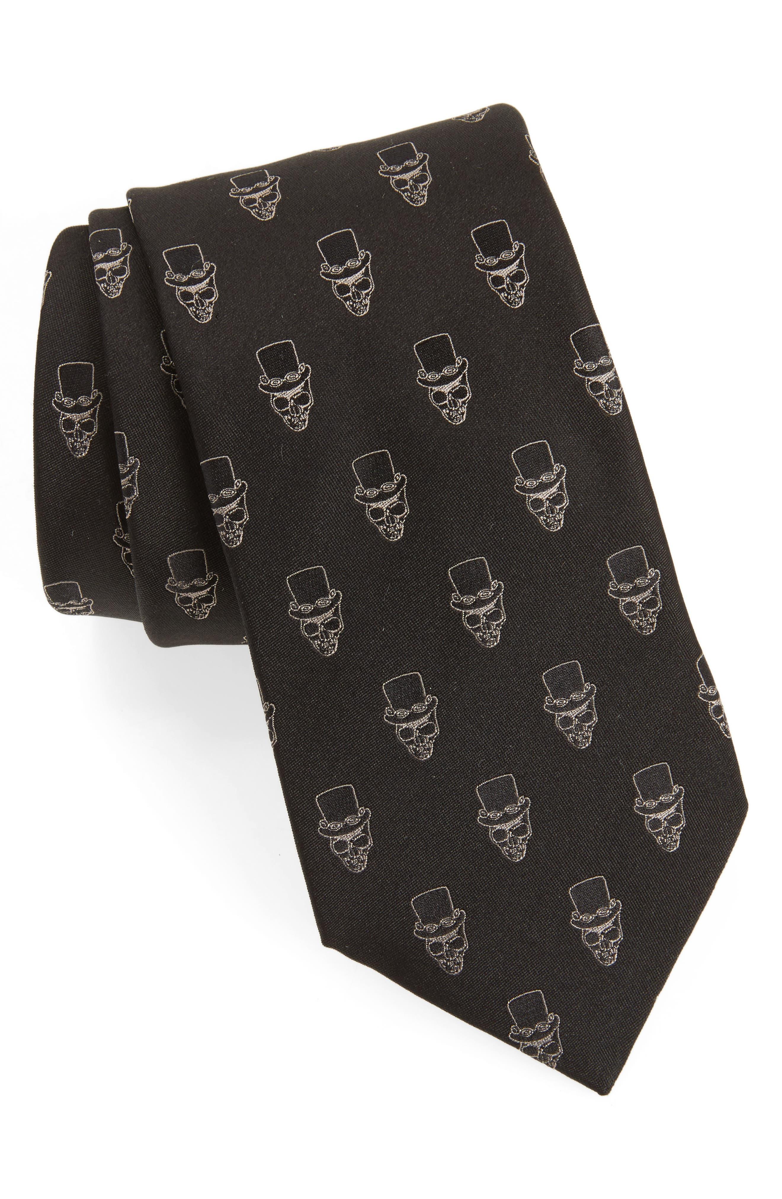 Skull Top Hat Silk Tie,                         Main,                         color, Black