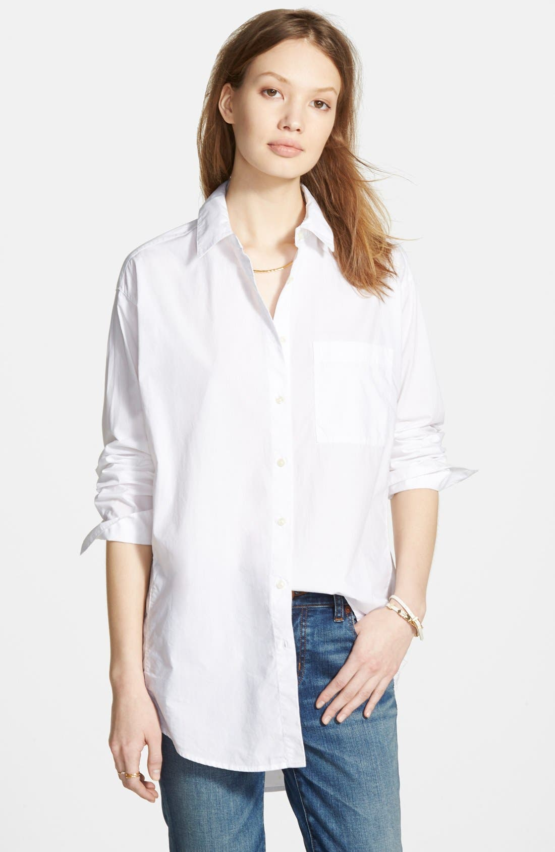 Oversize Button Front Shirt,                         Main,                         color, Optic White