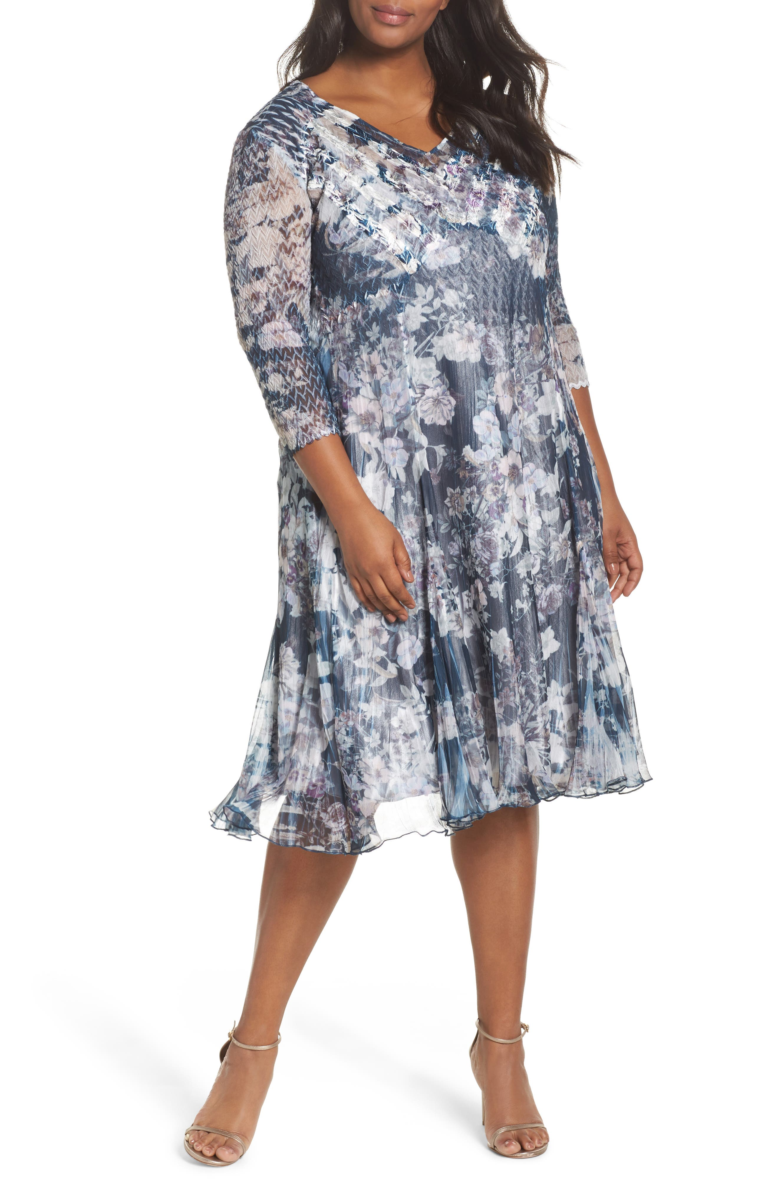 Komarov Floral Print V-Neck Dress (Plus Size)