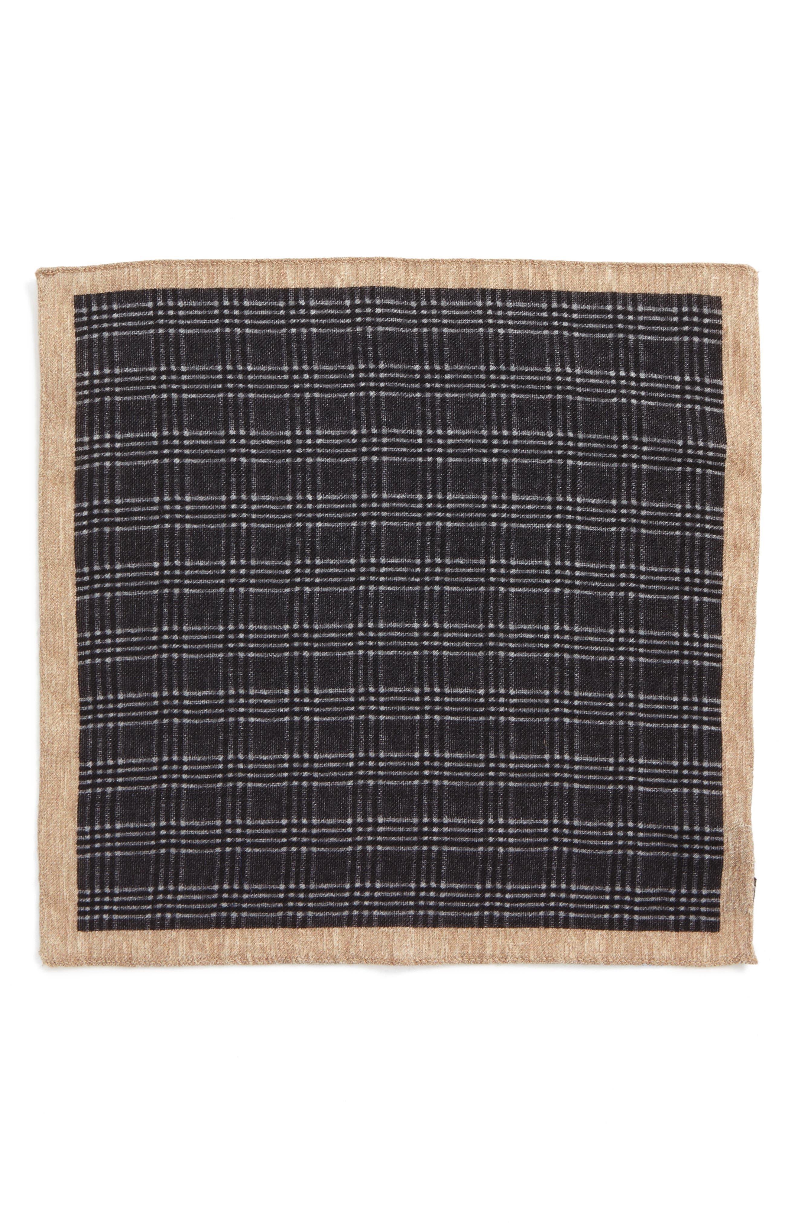 Plaid Wool Pocket Square,                             Alternate thumbnail 2, color,                             Grey