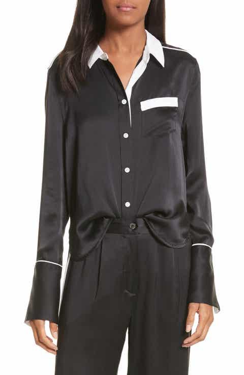 Women's Black Silk Tops & Tees | Nordstrom