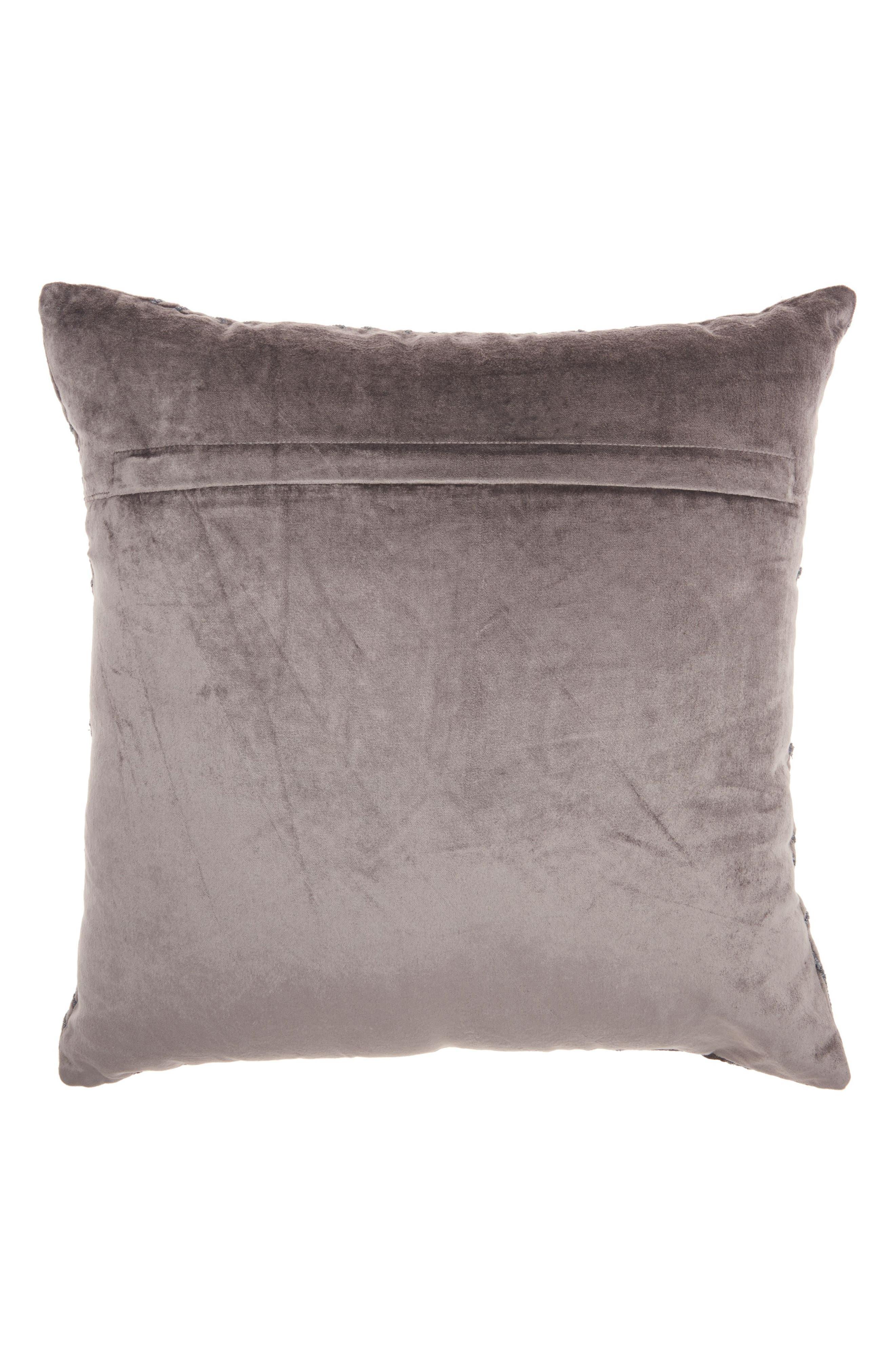 Velvet Gate Accent Pillow,                             Alternate thumbnail 2, color,                             Dark Grey