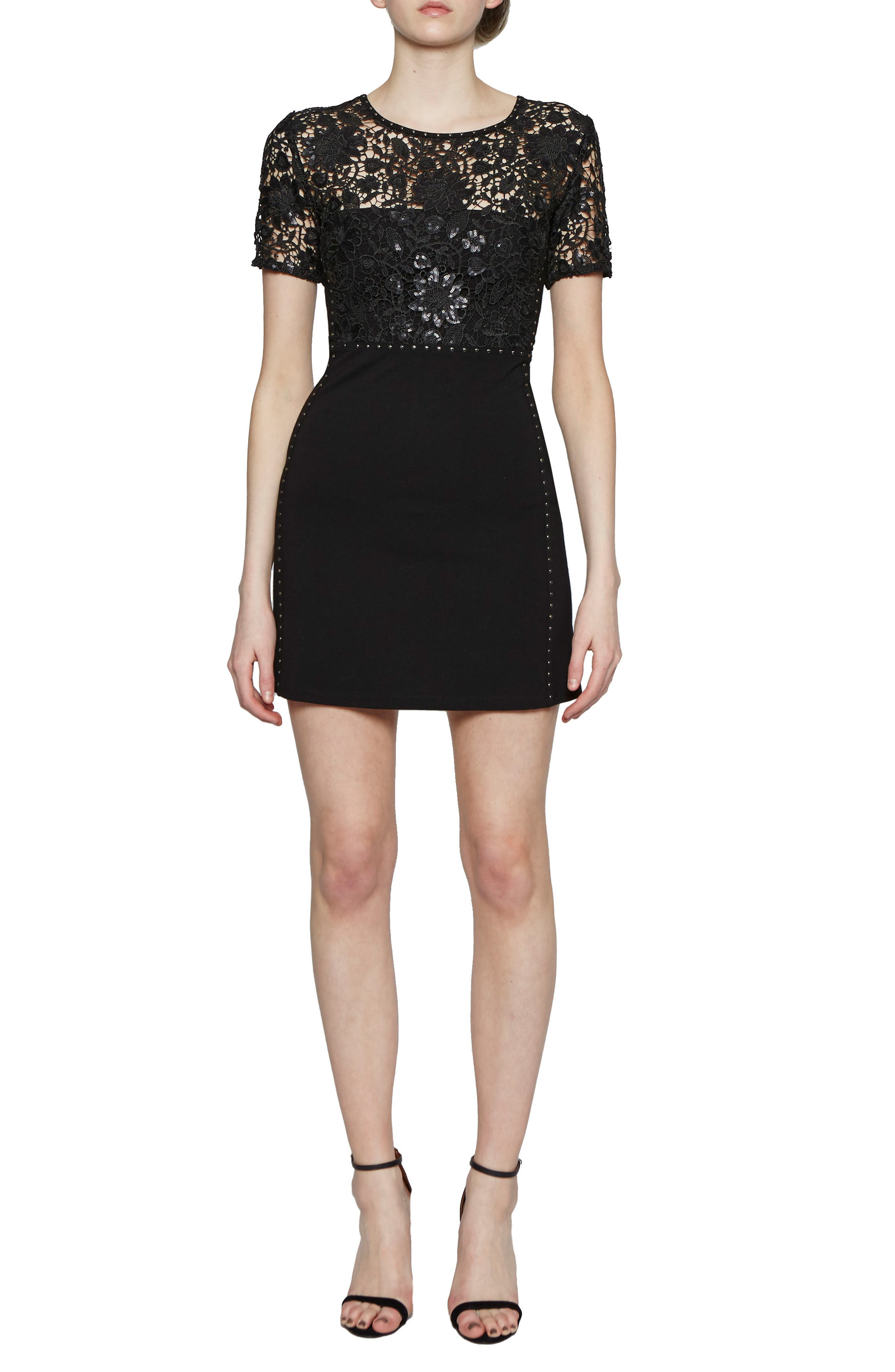 Clementine Sequin Sheath Dress,                         Main,                         color, Black