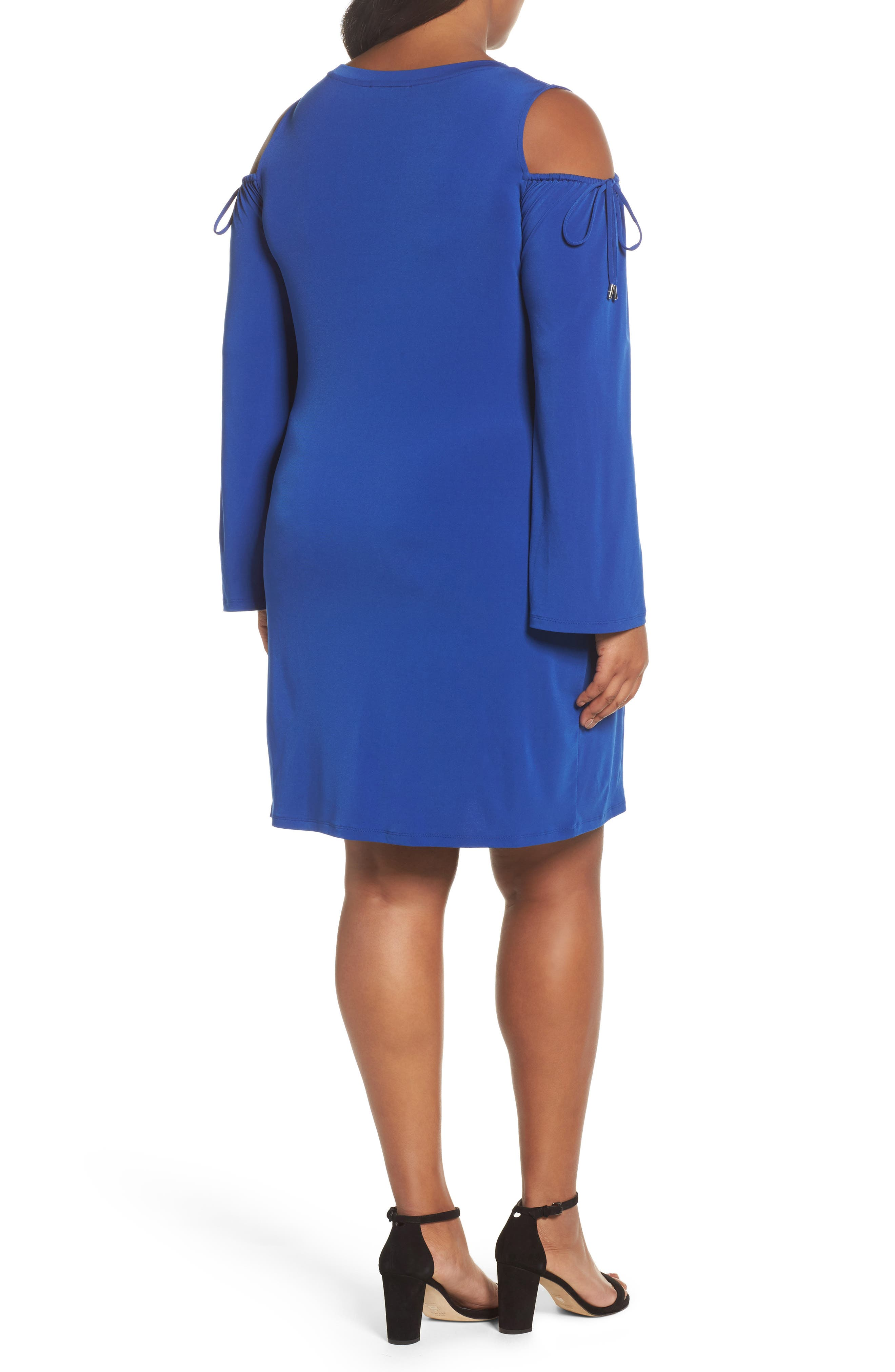 Cold Shoulder Shift Dress,                             Alternate thumbnail 2, color,                             Blue