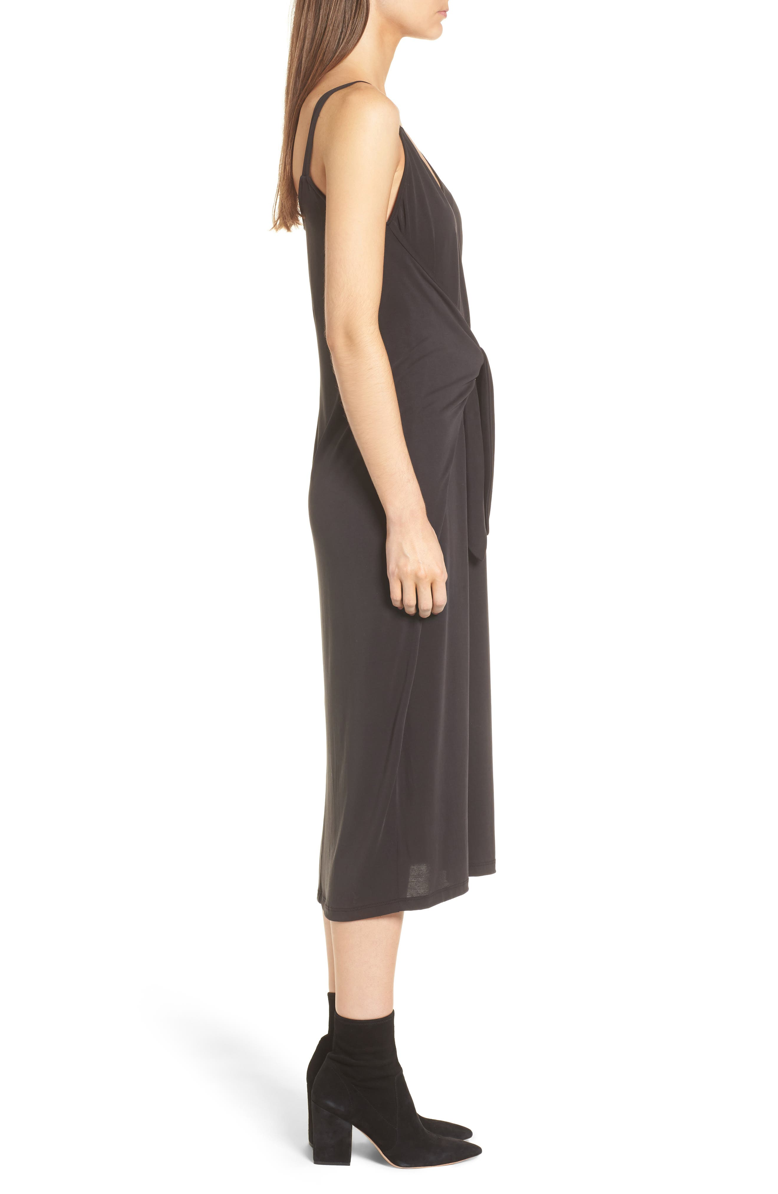 Knotted Midi Dress,                             Alternate thumbnail 3, color,                             Black