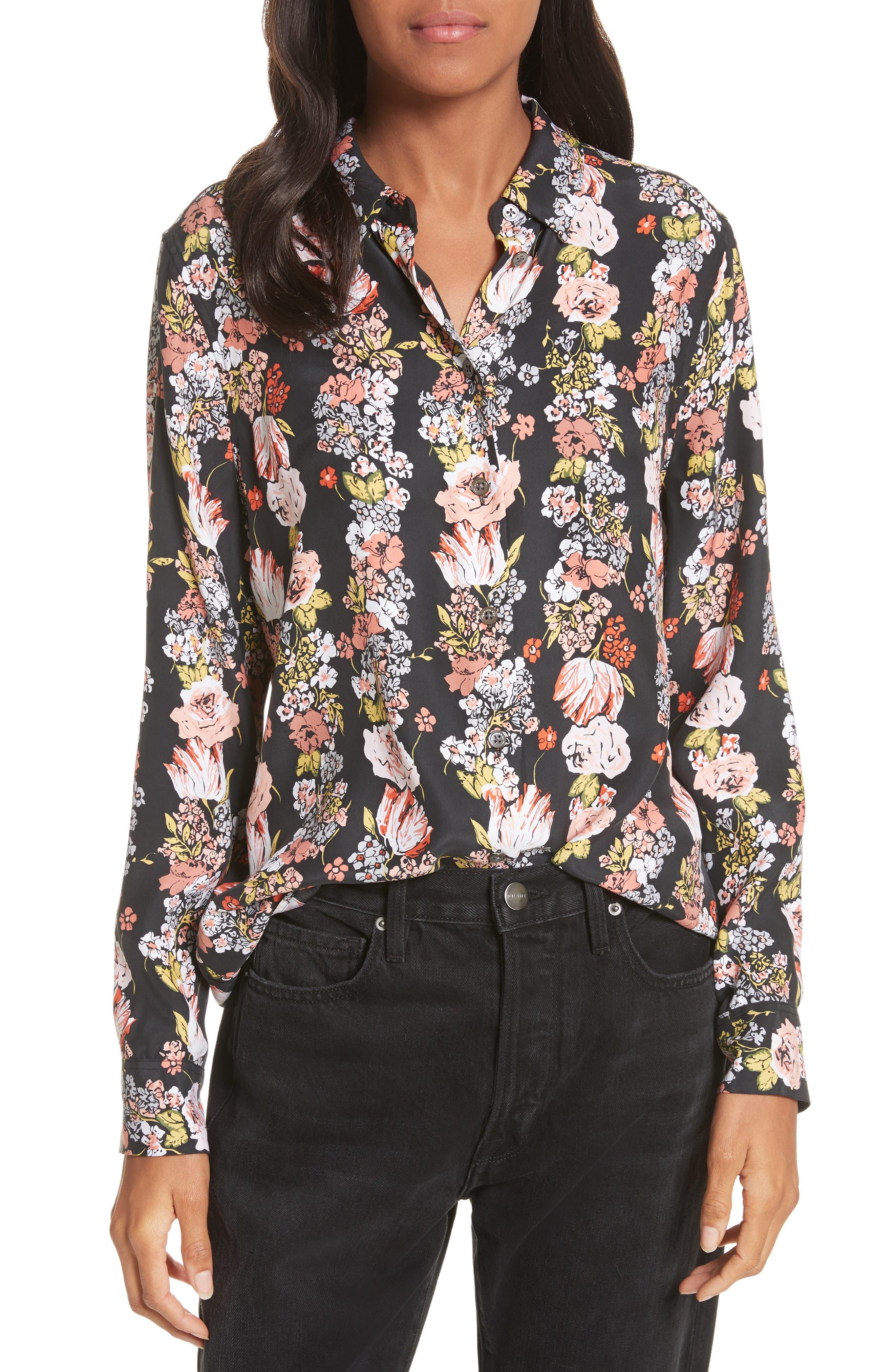 Essential Floral Silk Shirt,                         Main,                         color, True Black Multi