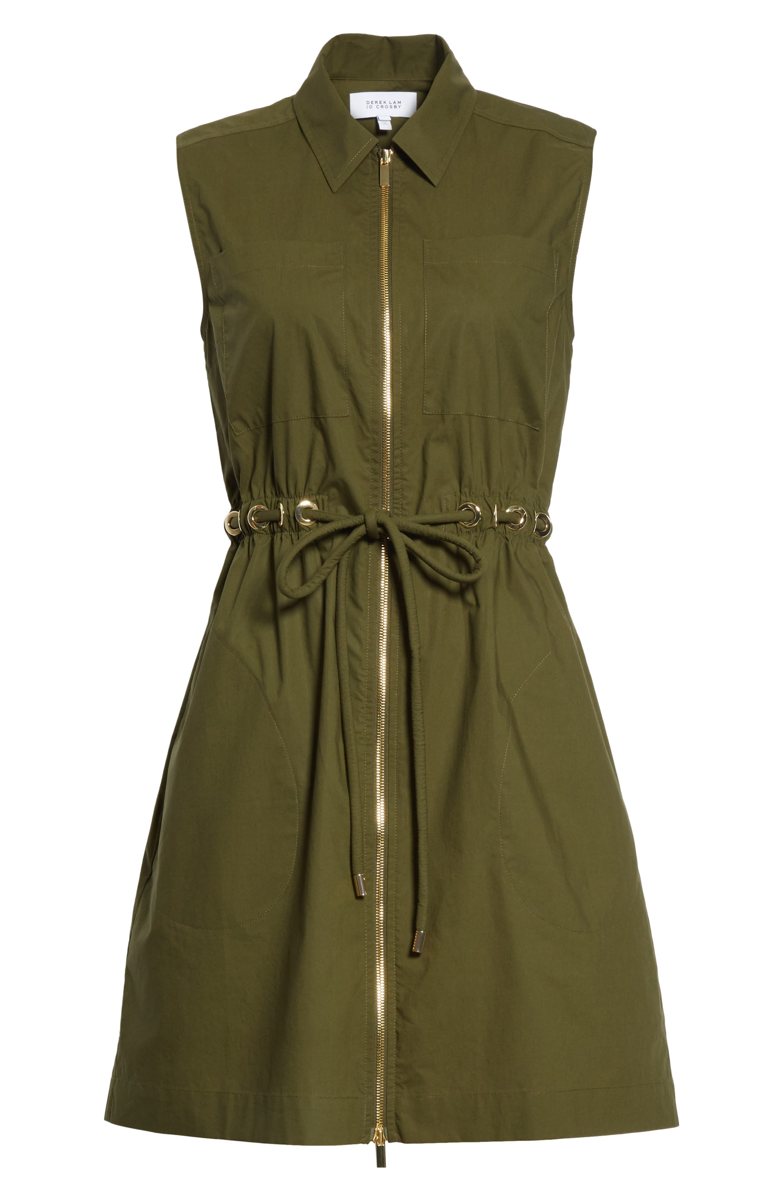 Zip Front Tunic Dress,                             Alternate thumbnail 5, color,                             Army Green
