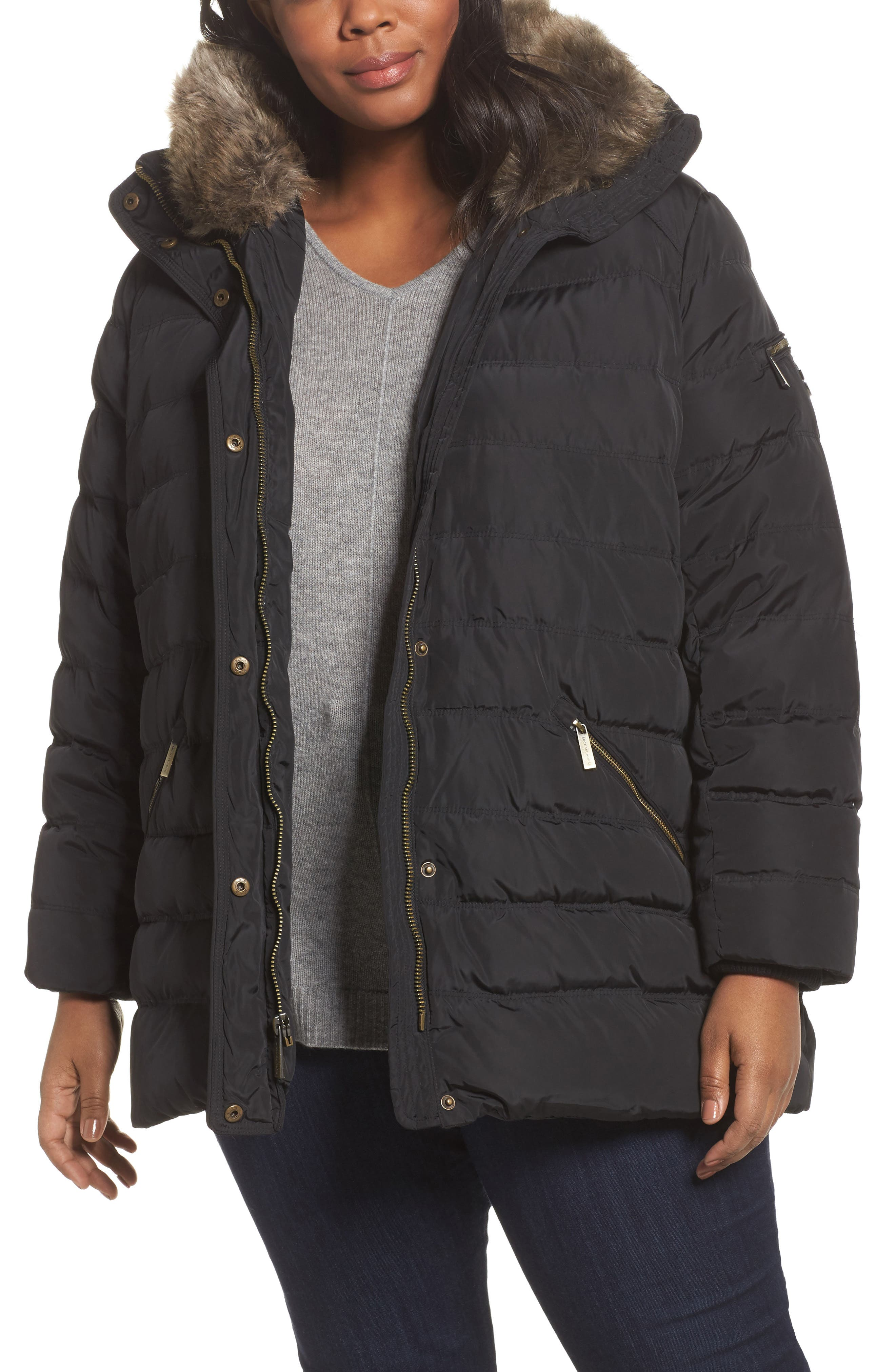 MICHAEL Michael Kors Down & Feather Hooded Coat with Faux Fur Trim (Plus Size)