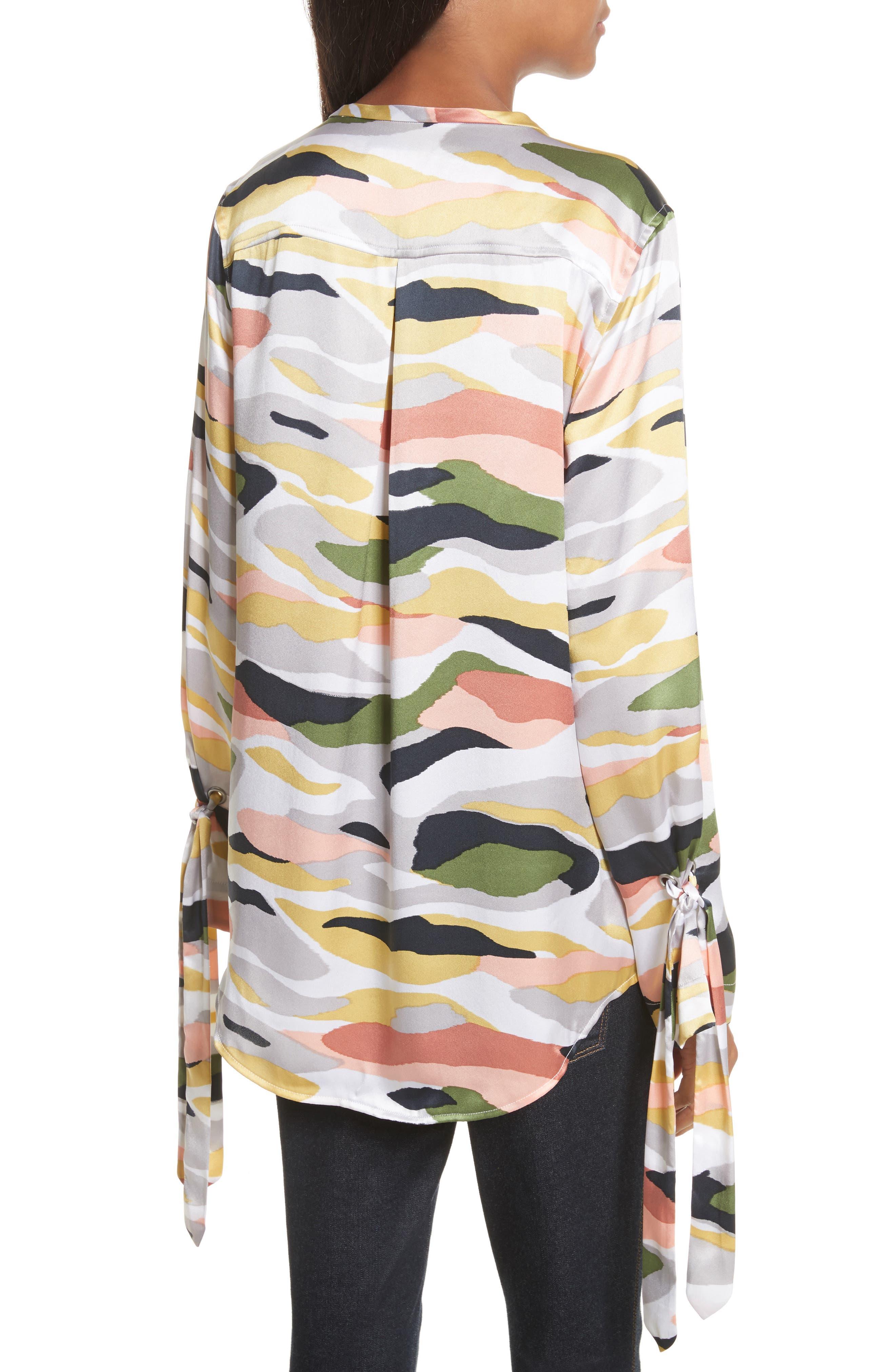 Sayer Tie-Sleeve Silk Top,                             Alternate thumbnail 2, color,                             Bright White Multi
