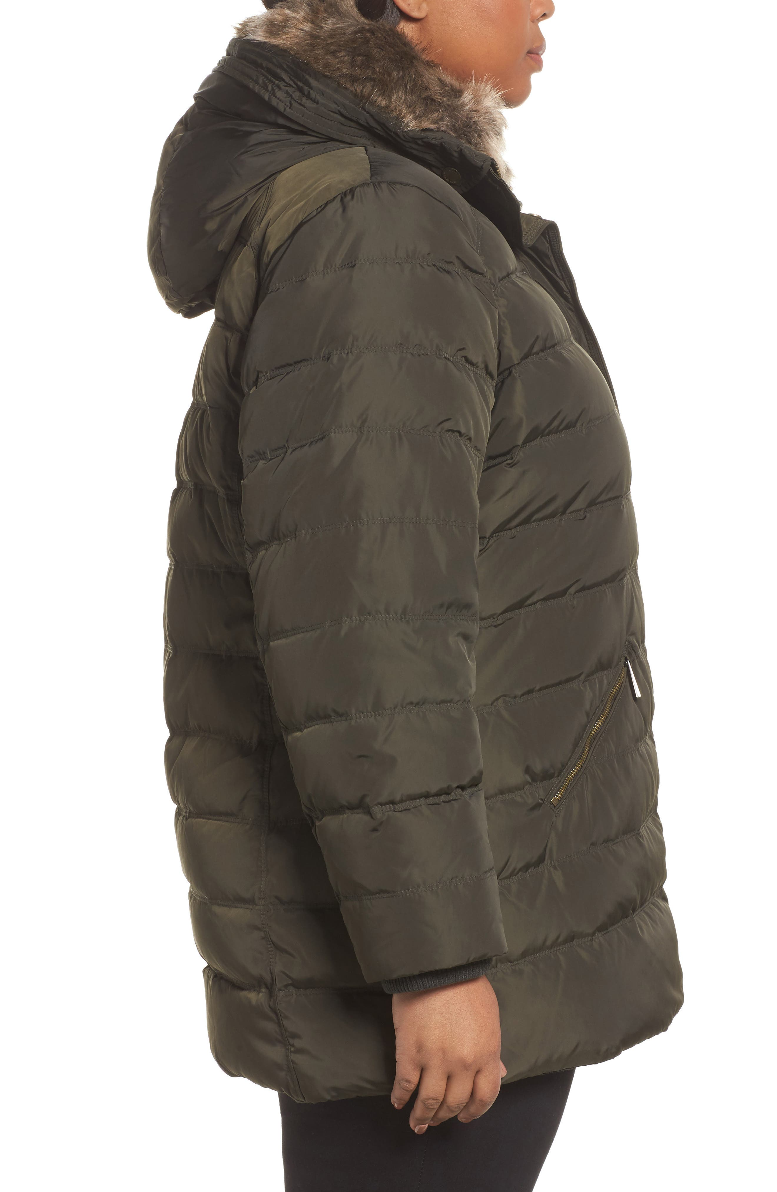 Down & Feather Hooded Coat with Faux Fur Trim,                             Alternate thumbnail 3, color,                             Dark Moss
