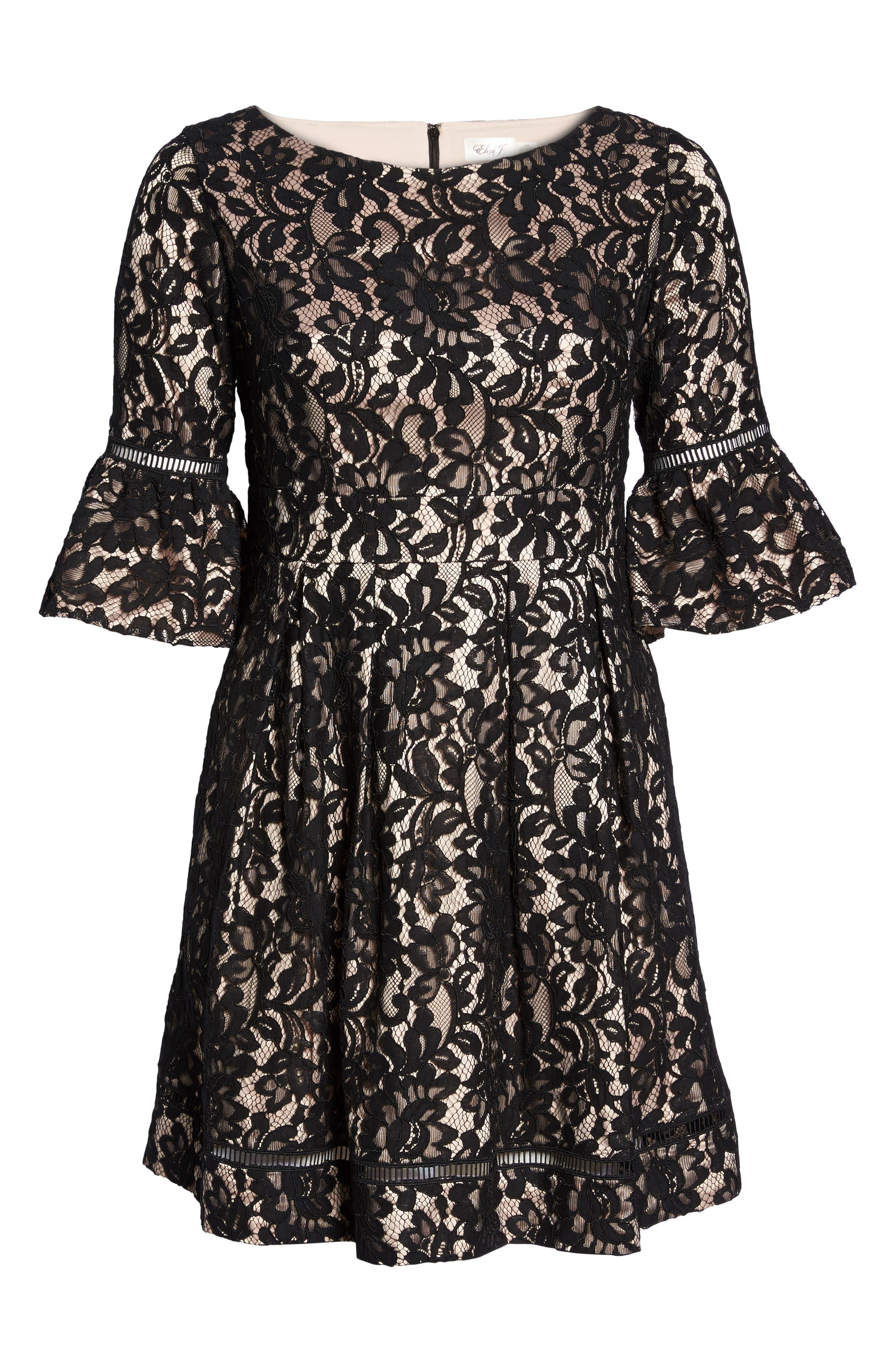 Fit & Flare Lace Dress,                             Alternate thumbnail 6, color,                             Black