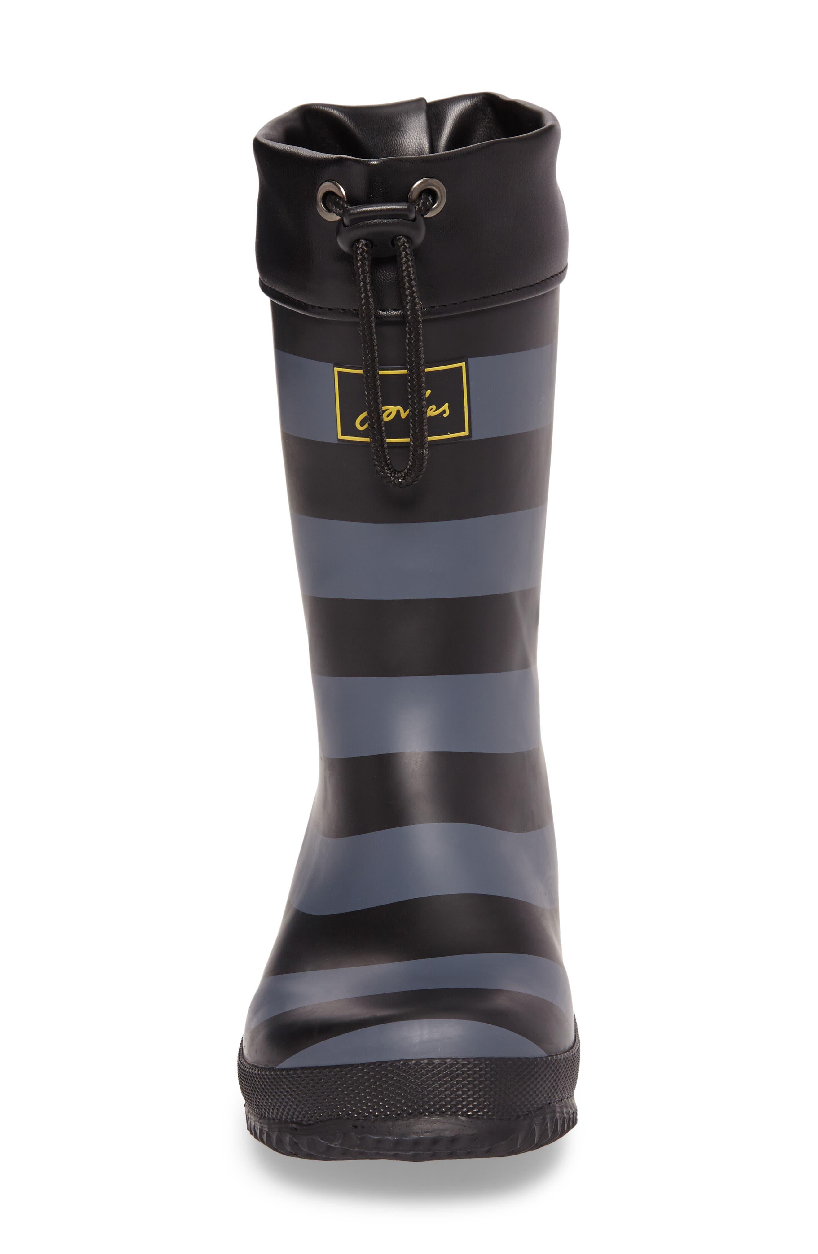 Winter Waterproof Rain Boot,                             Alternate thumbnail 4, color,                             Black Stripe