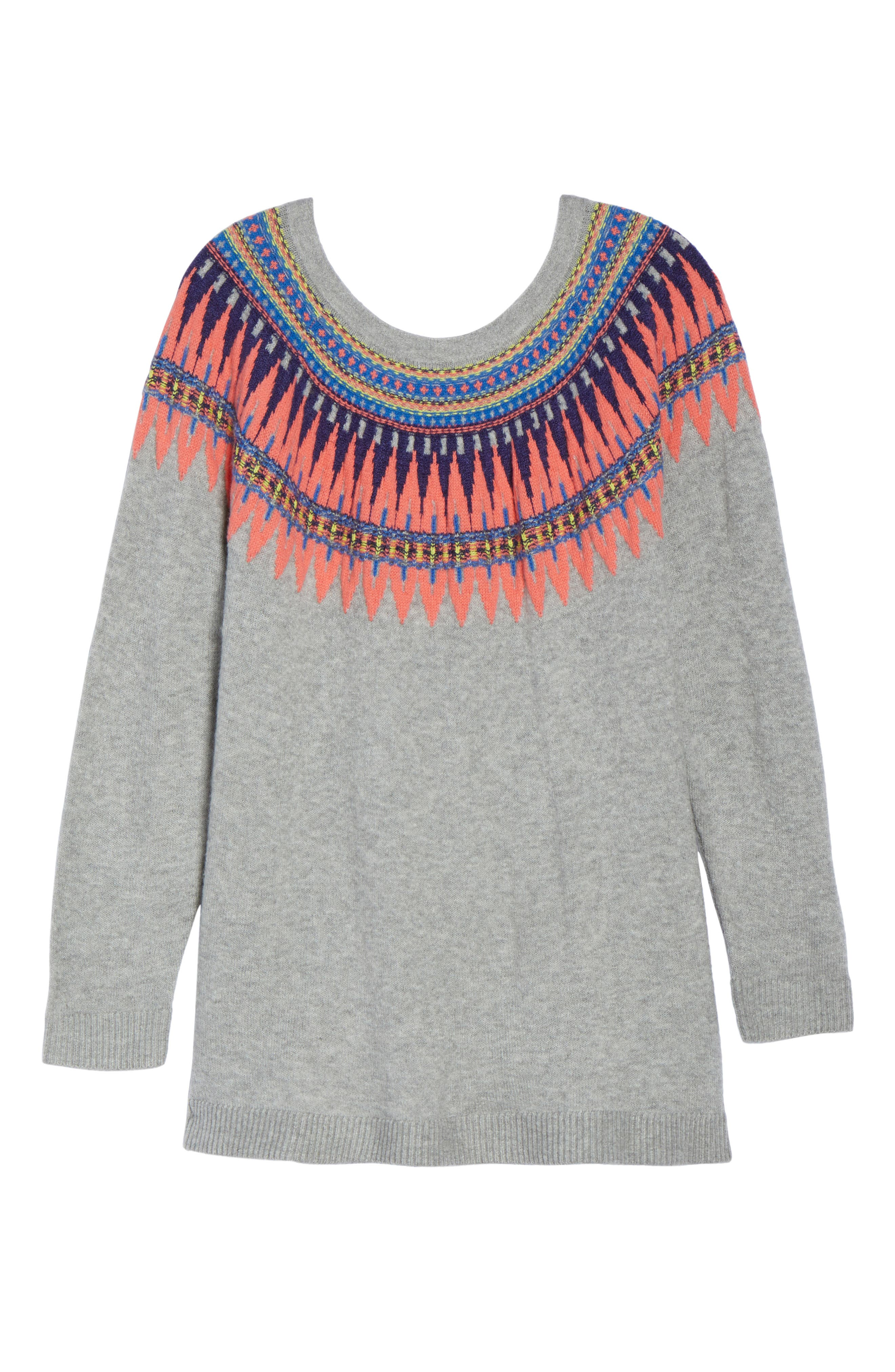 Tie Back Patterned Sweater,                             Alternate thumbnail 7, color,                             Grey- Pink Pattern