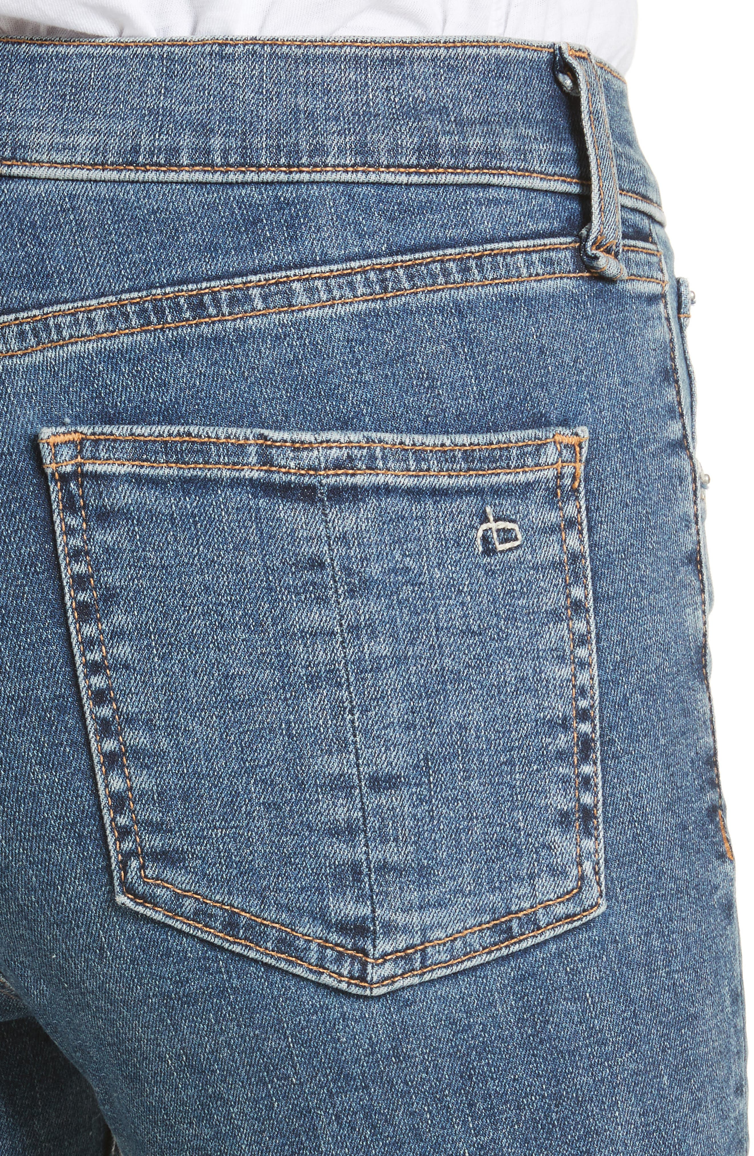 High Waist Ankle Skinny Jeans,                             Alternate thumbnail 4, color,                             Clean Commodore