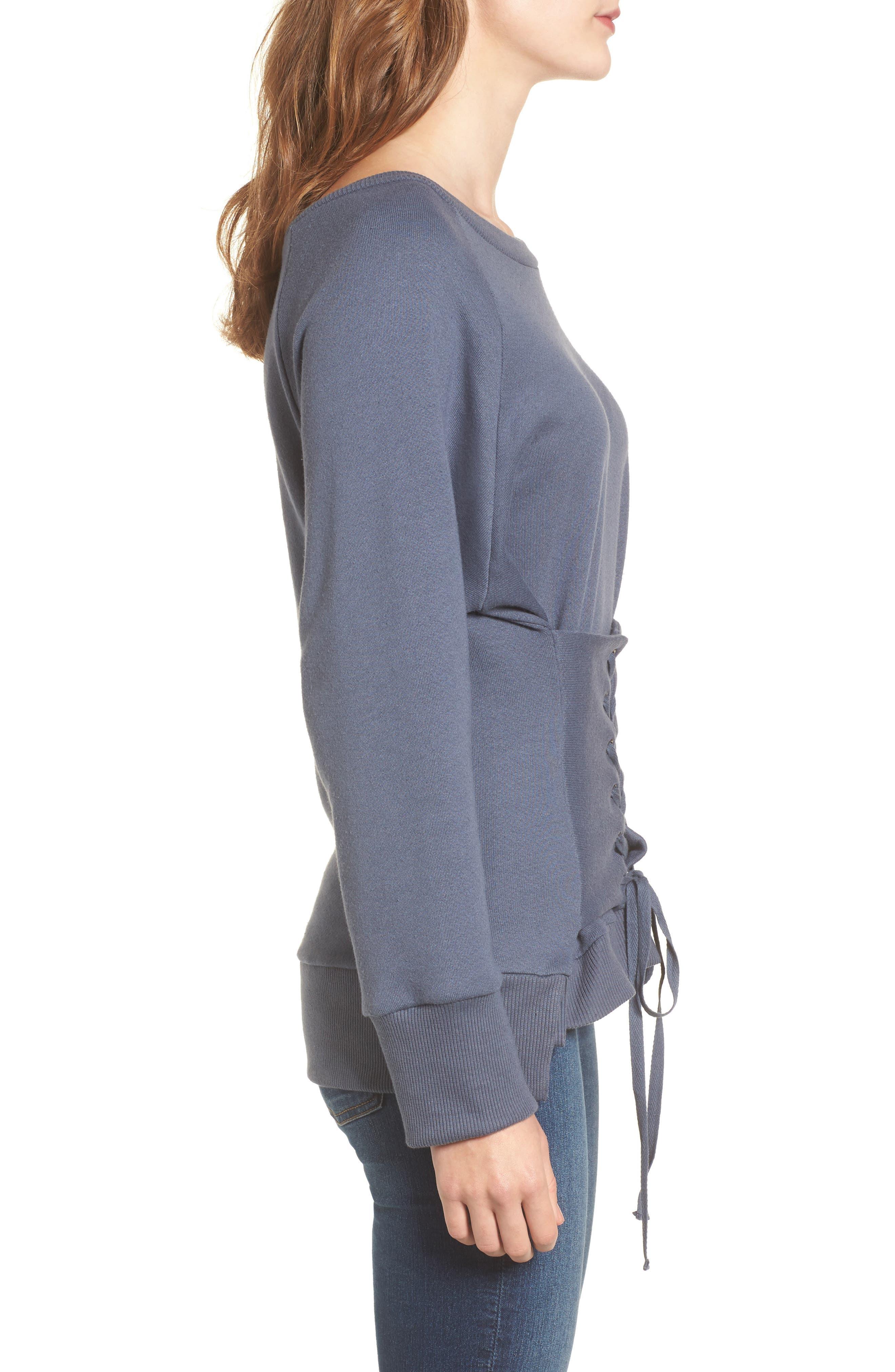 Corset Sweatshirt,                             Alternate thumbnail 3, color,                             Steel