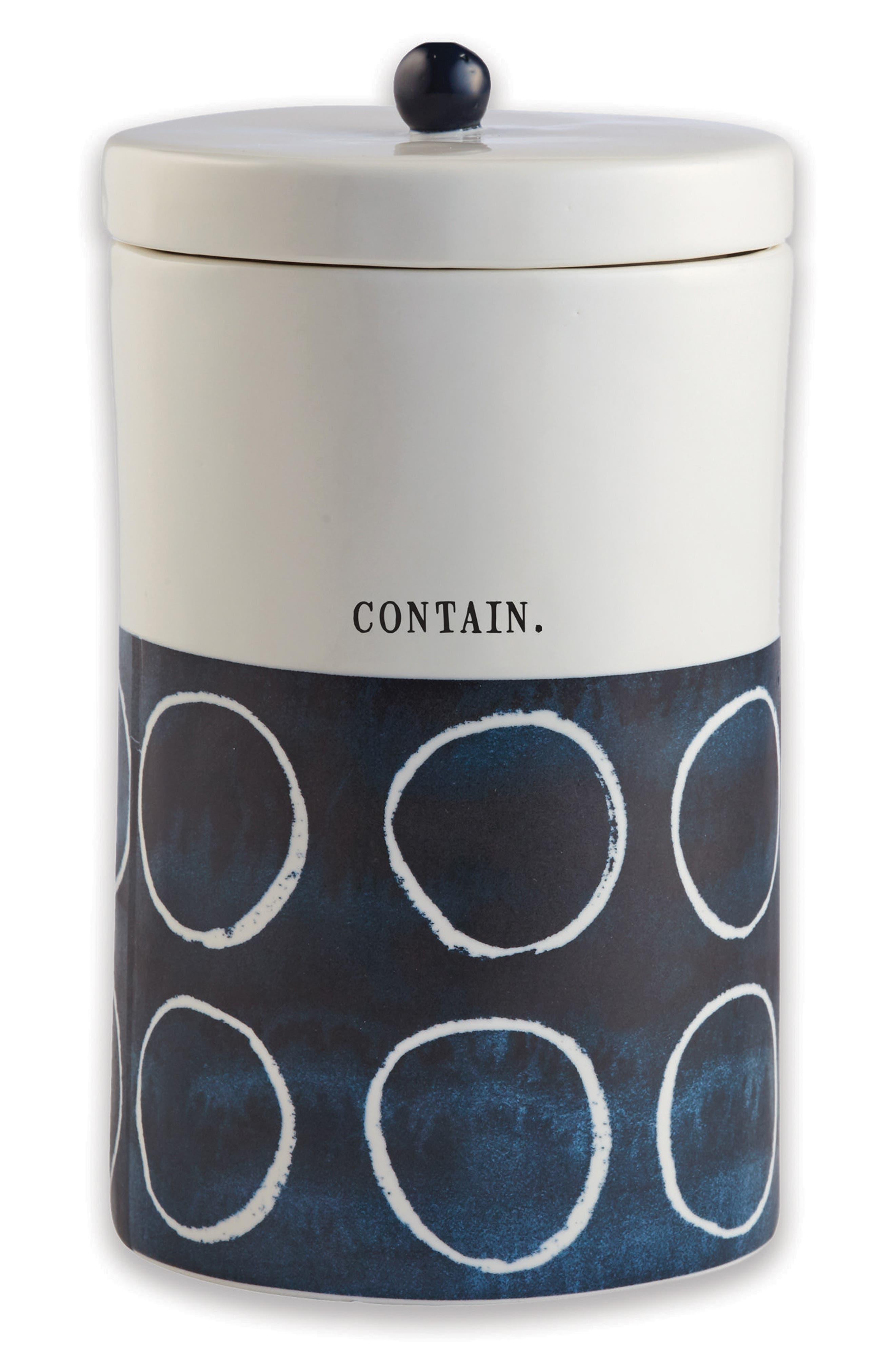 Medium Ceramic Canister,                         Main,                         color, White