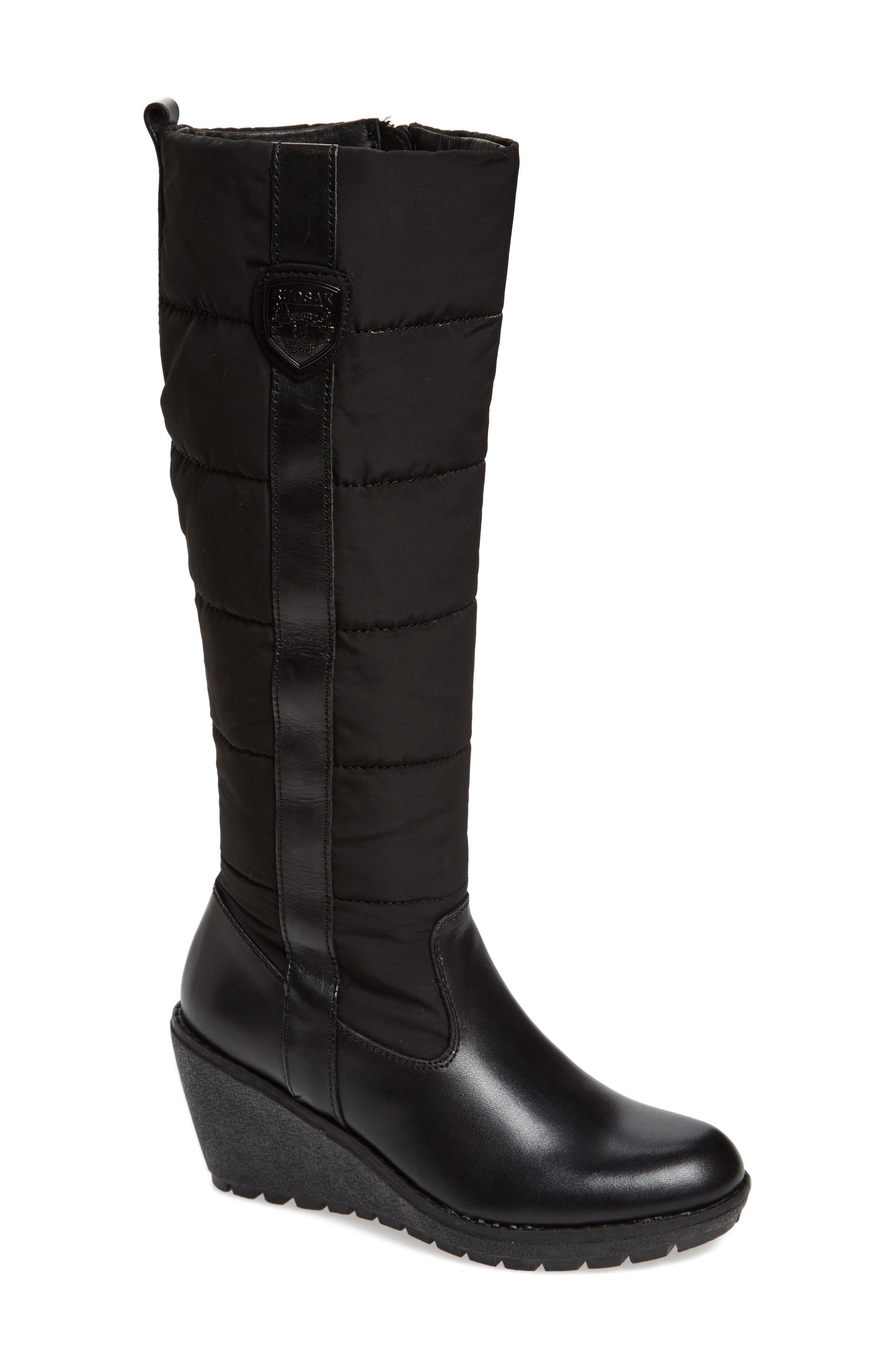 Bethany Water Resistant Boot,                             Main thumbnail 1, color,                             Black Leather