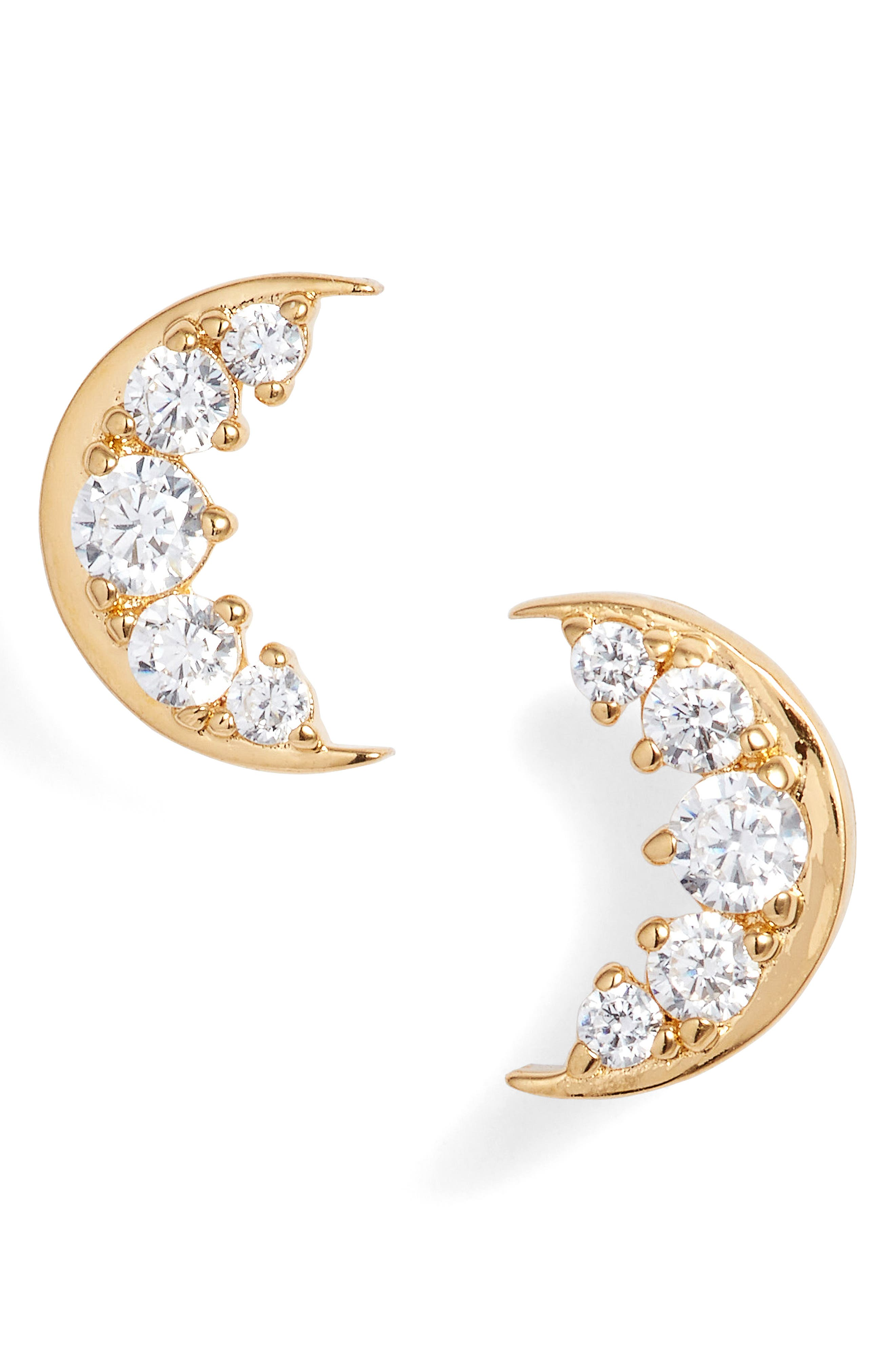 Nadri Reminisce Cubic Zirconia Moon Stud Earrings