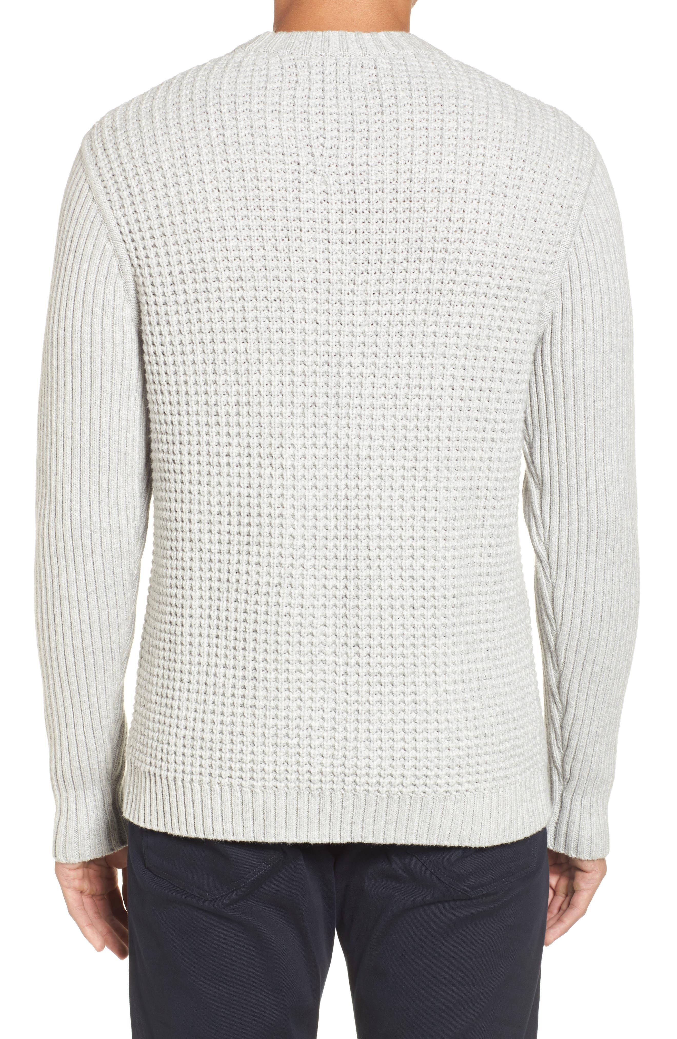 Heavyweight Mixed Knit Crewneck Sweater,                             Alternate thumbnail 3, color,                             Grey Sleet Heather