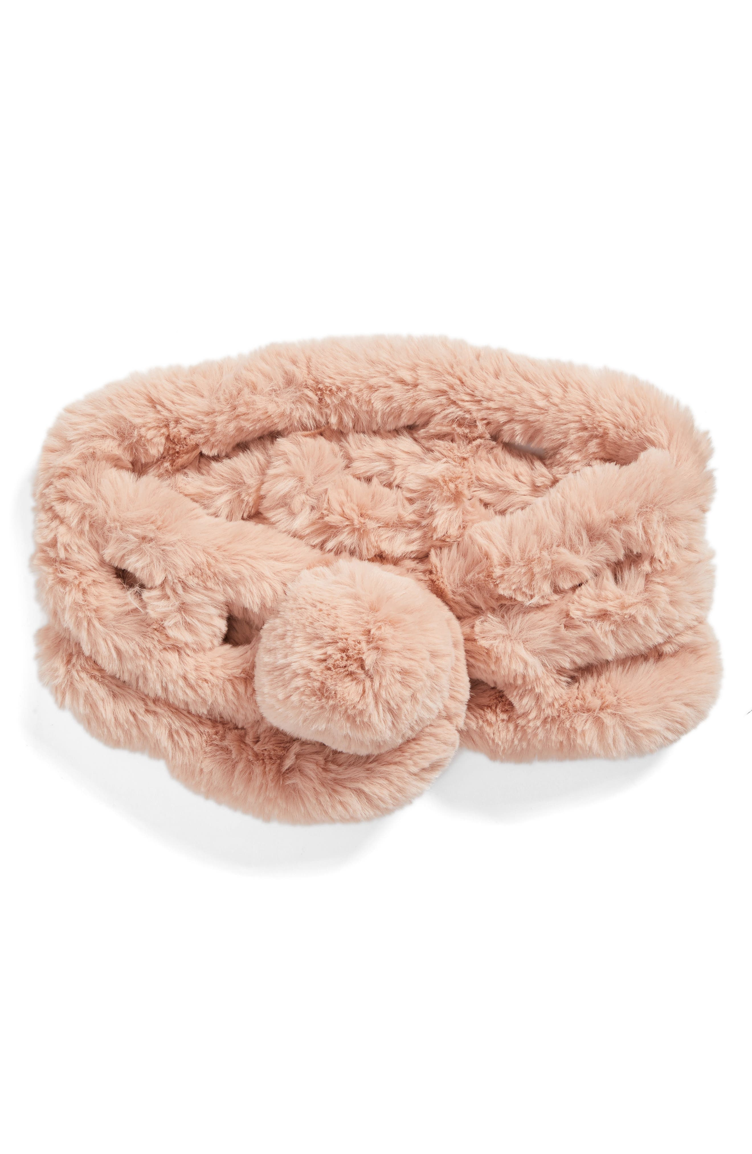 Faux Fur Scarf,                             Alternate thumbnail 3, color,                             Pink