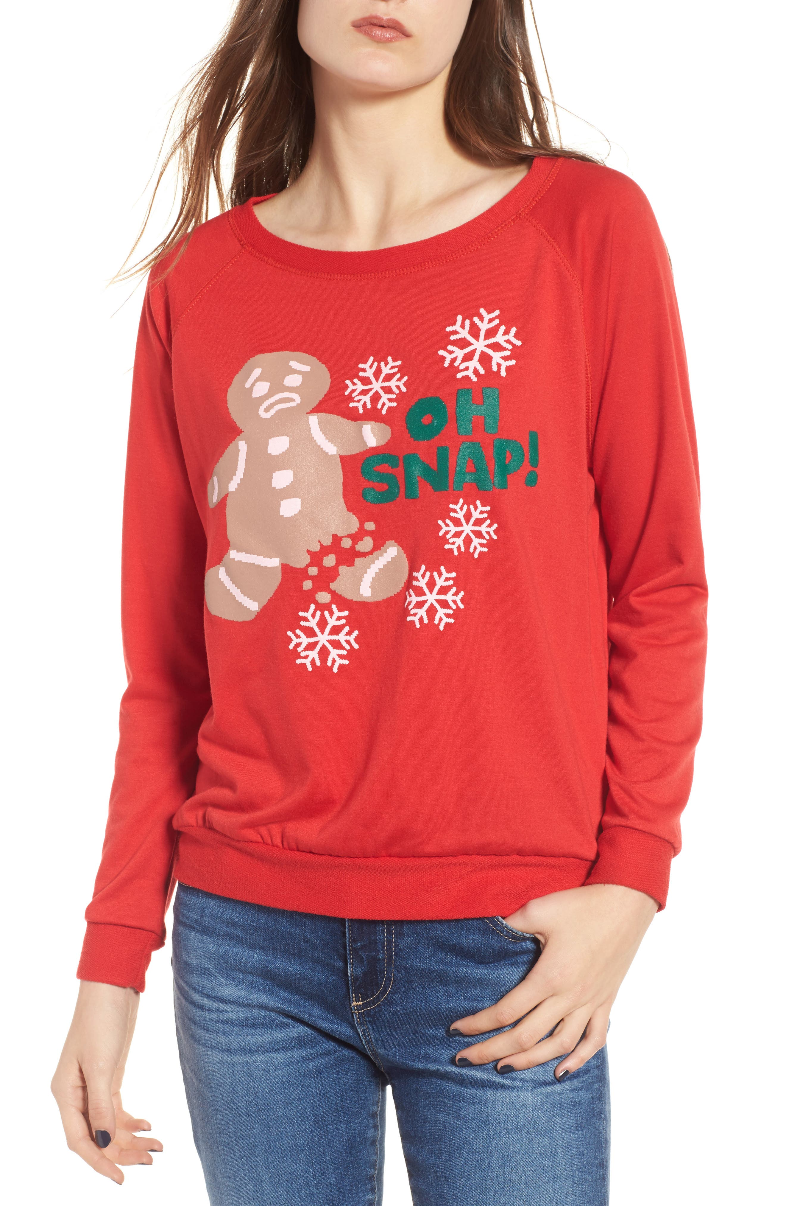 Oh Snap Sweatshirt,                         Main,                         color, Red