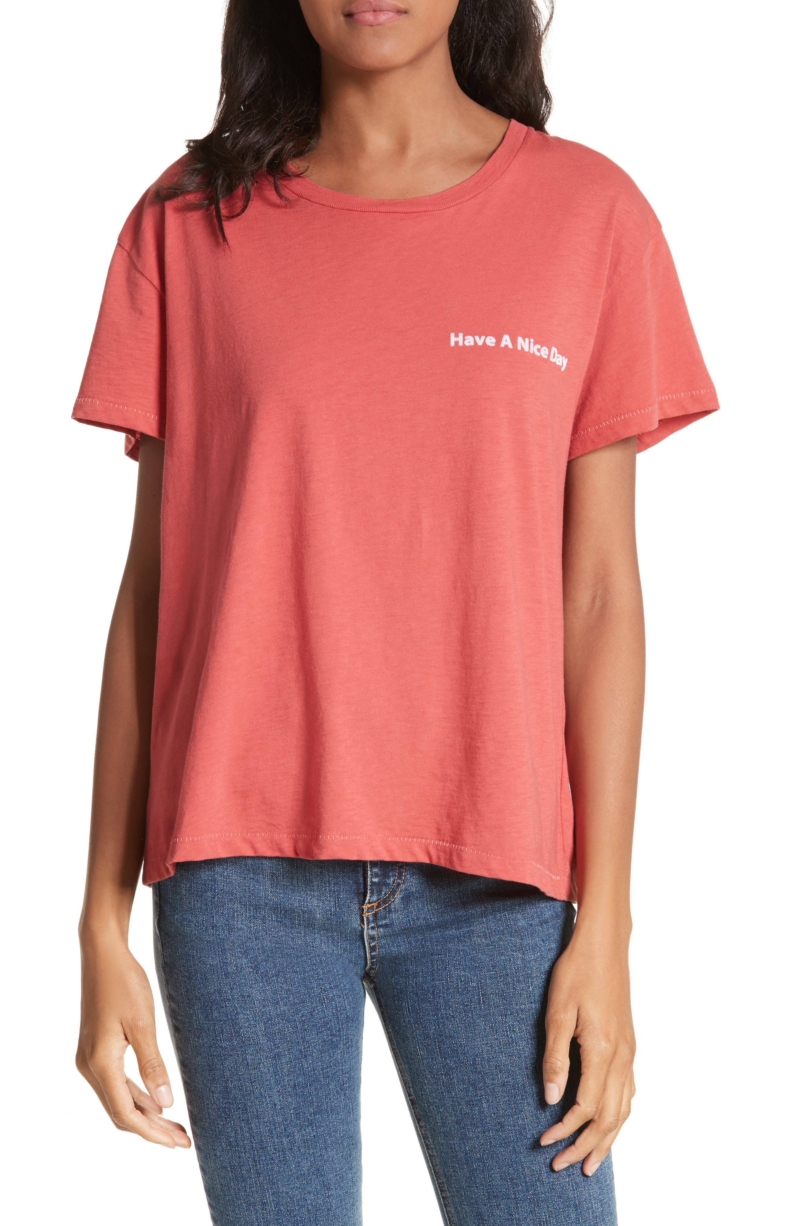 Have A Nice Day Tee,                         Main,                         color, Washed Red