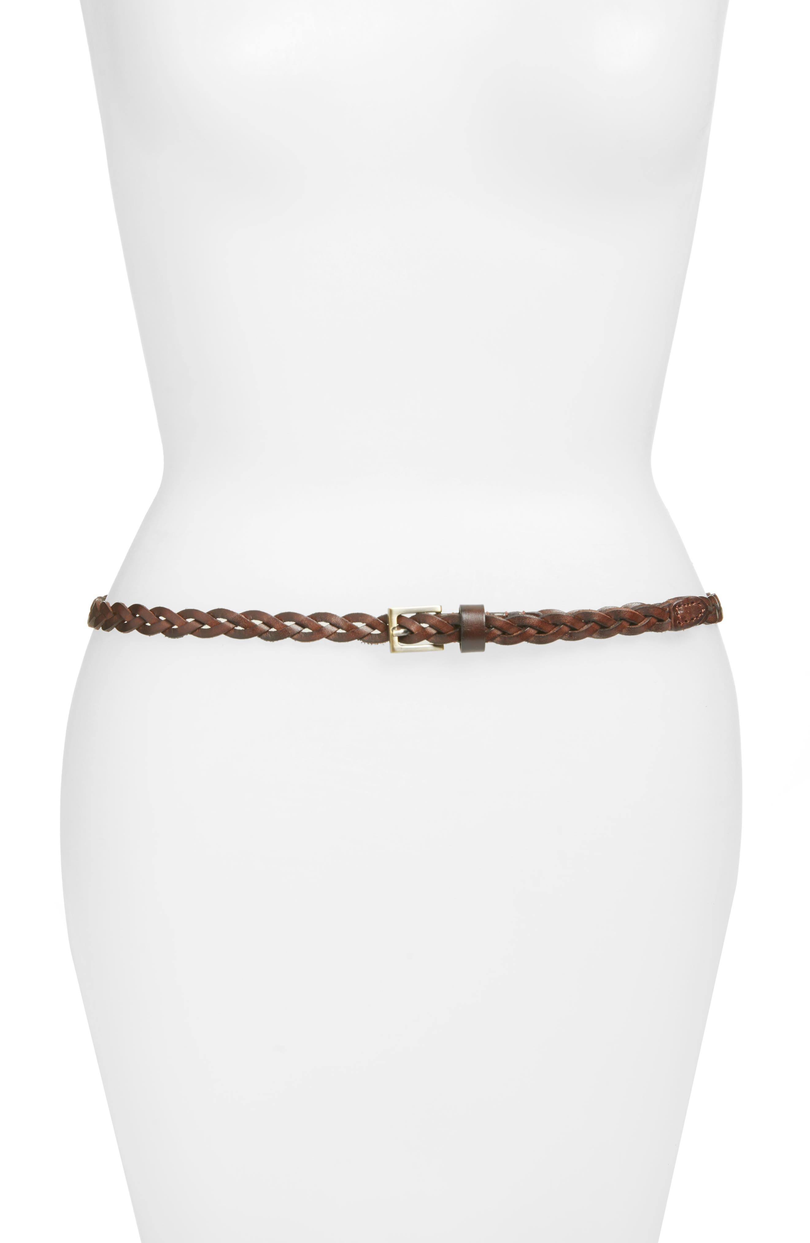 Lawrence Braided Leather Belt,                             Main thumbnail 1, color,                             Capp