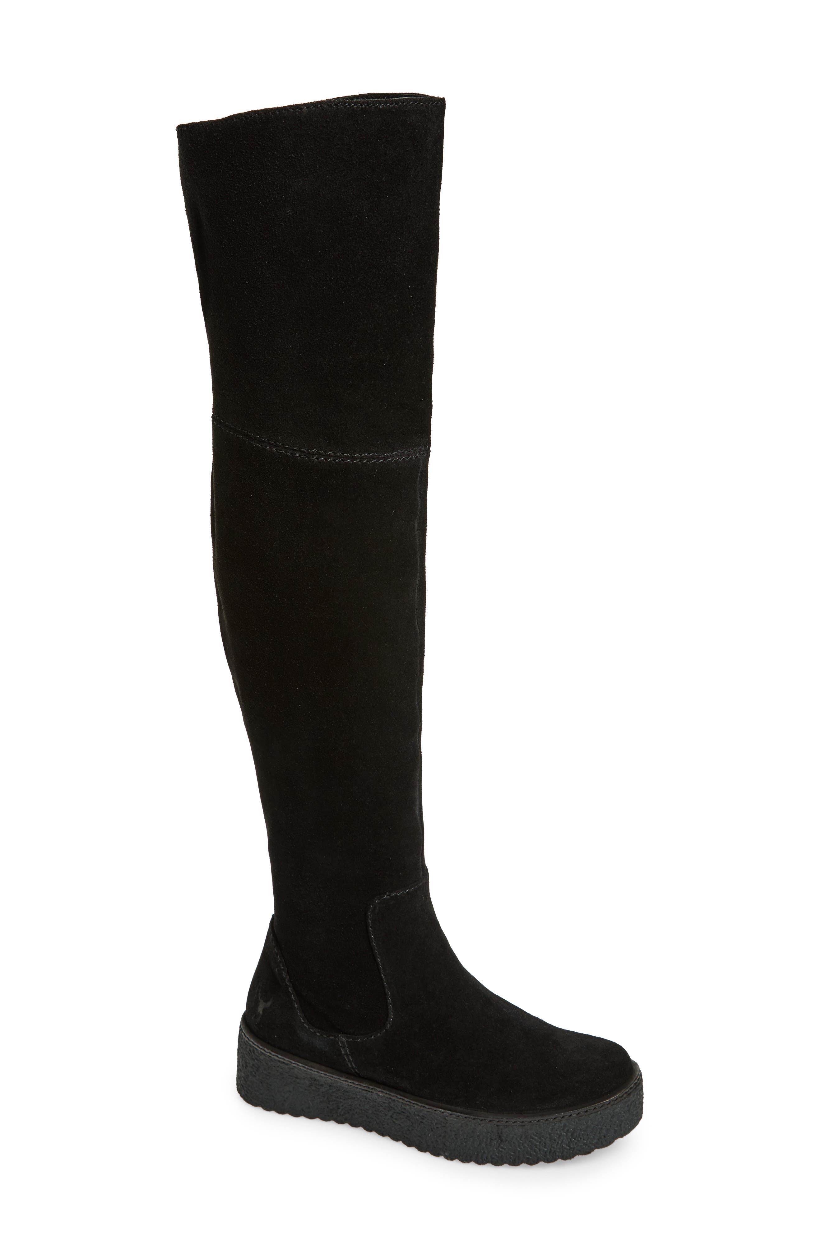 Tazza Over the Knee Boot,                         Main,                         color, Black Suede