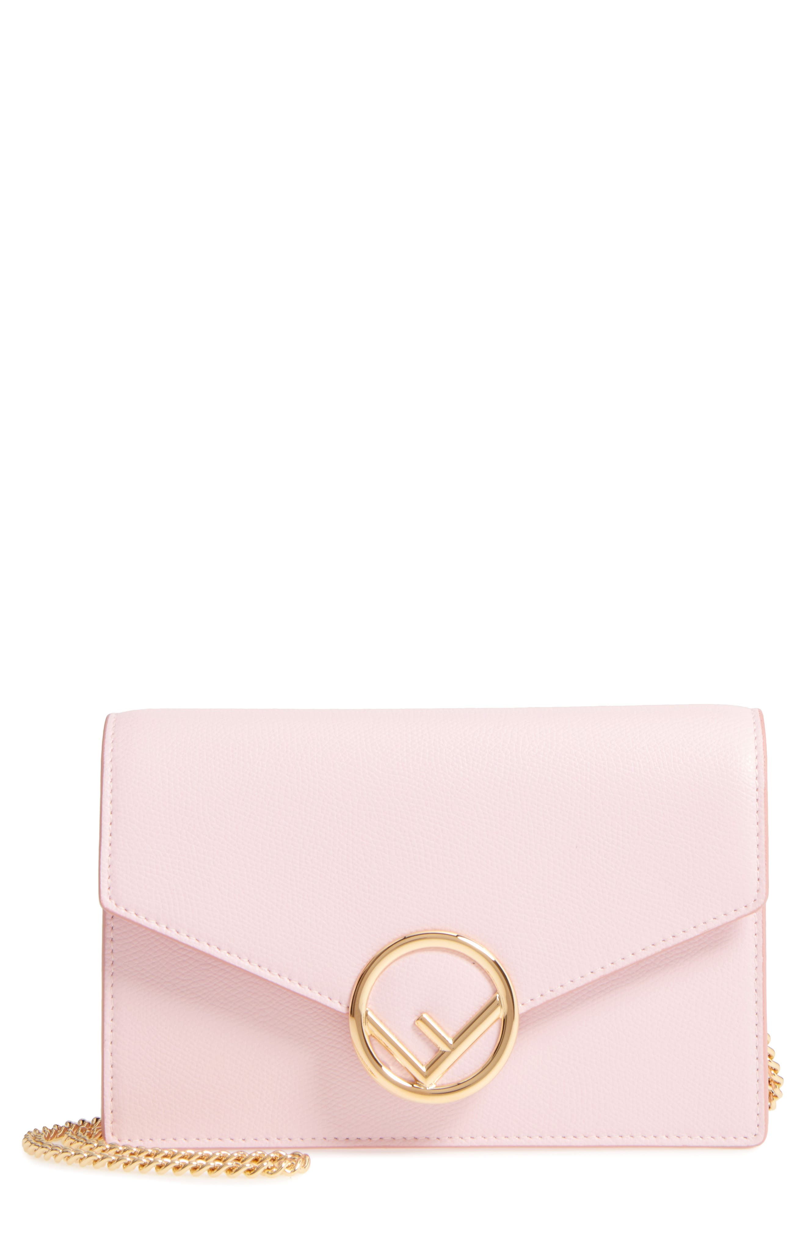 Liberty Logo Calfskin Leather Wallet on a Chain,                         Main,                         color, Peony/ Oro Soft