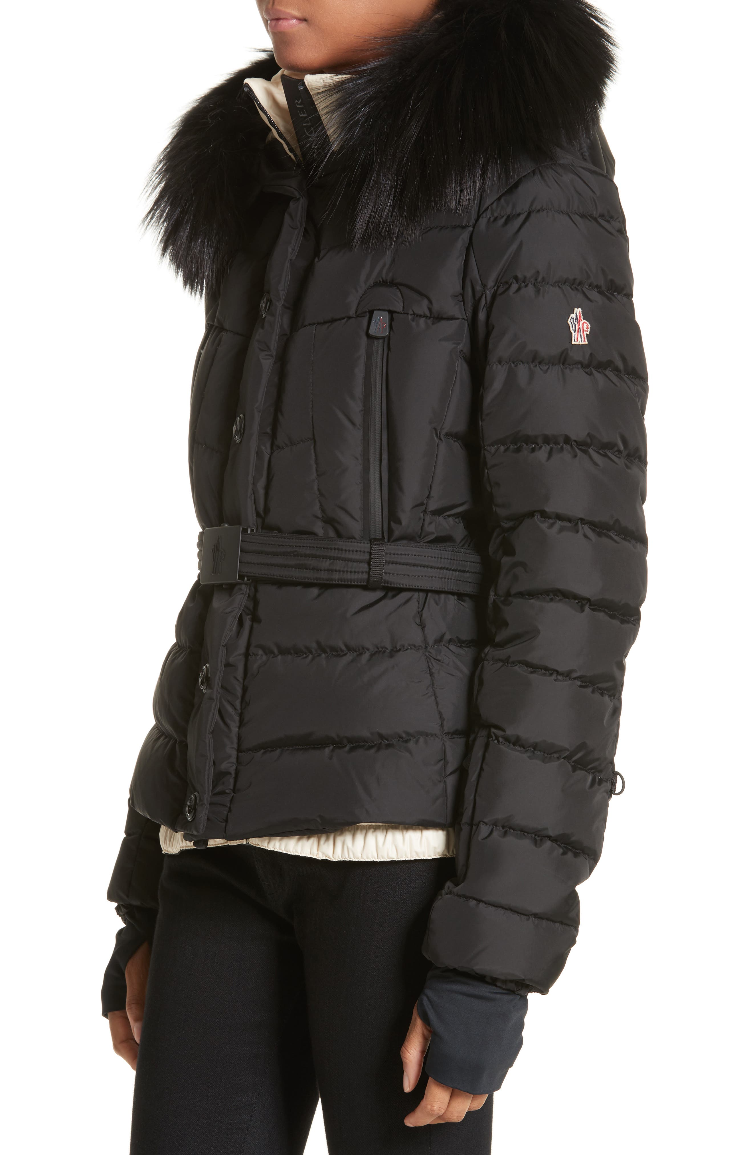 Beverley Quilted Down Jacket with Removable Genuine Fox Fur Trim,                             Alternate thumbnail 3, color,                             Black