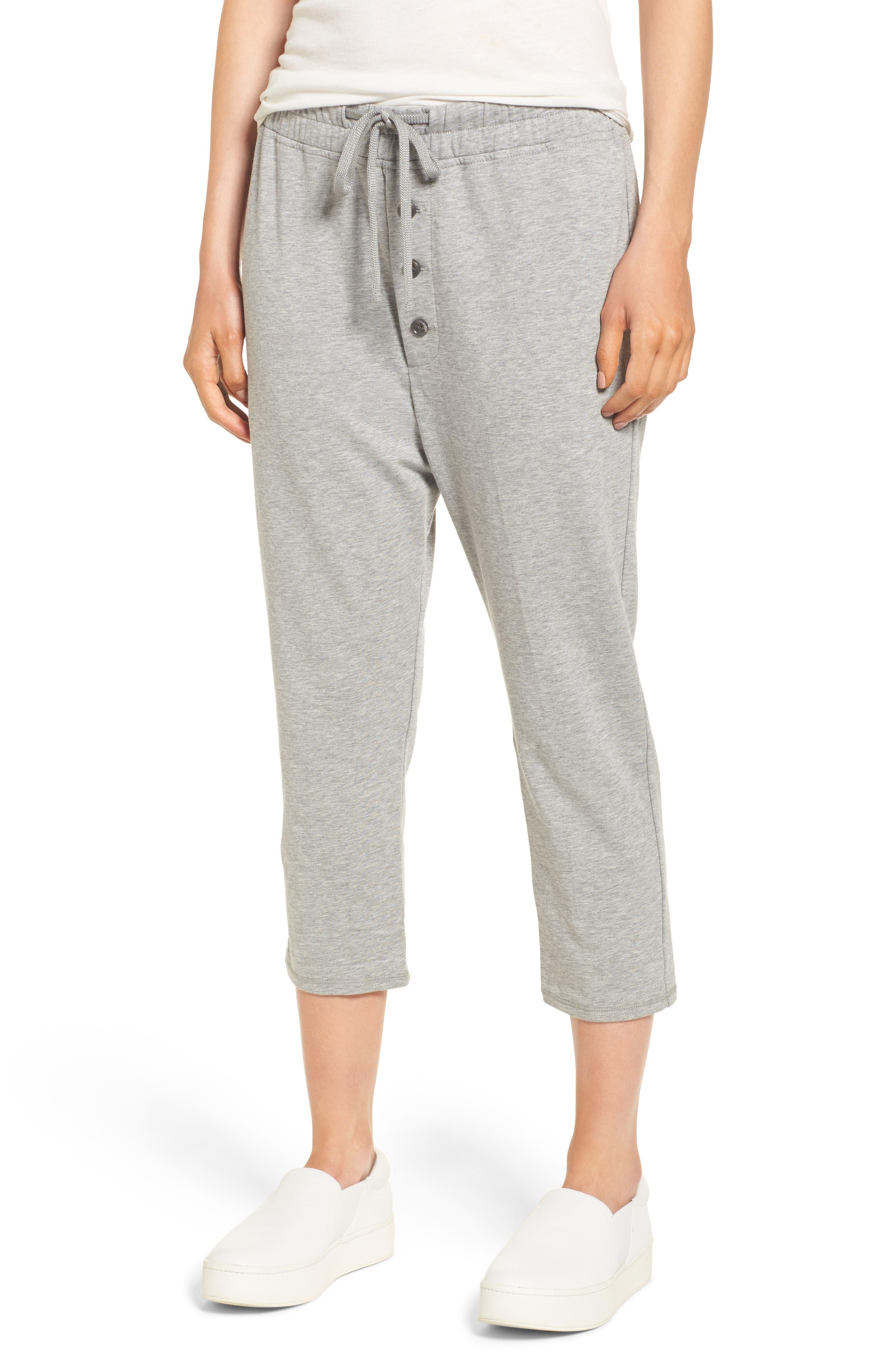 Slouchy Crop Sweatpants,                         Main,                         color, Heather Grey