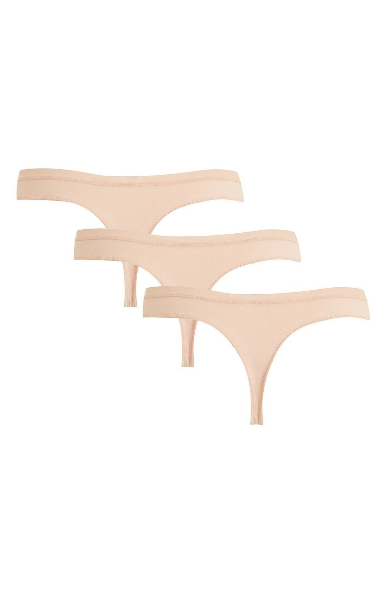 Alternate Image 2  - Topshop 3-Pack Cotton Thongs
