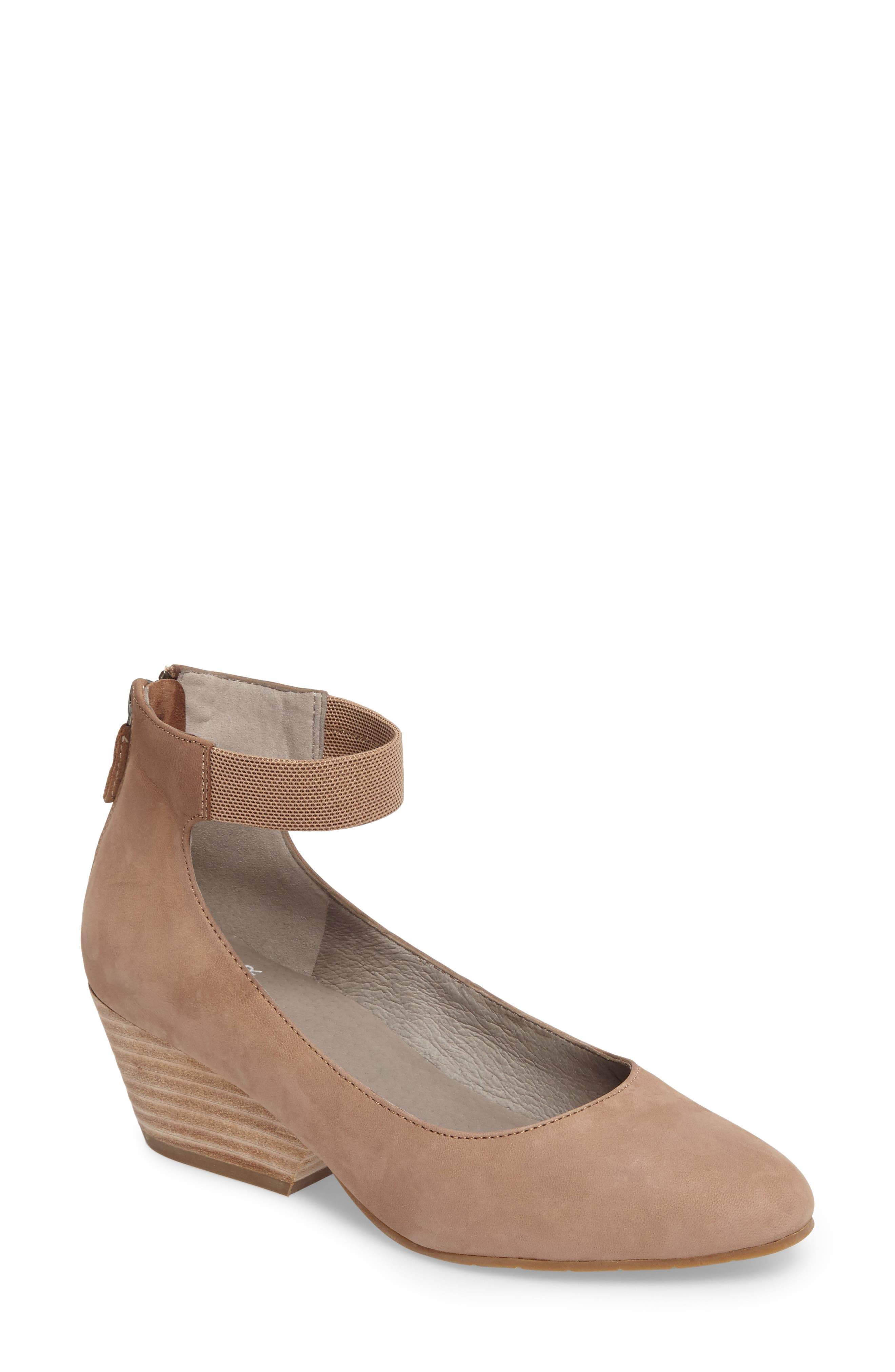 'Liz' Ankle Strap Pump,                         Main,                         color, Earth Nubuck