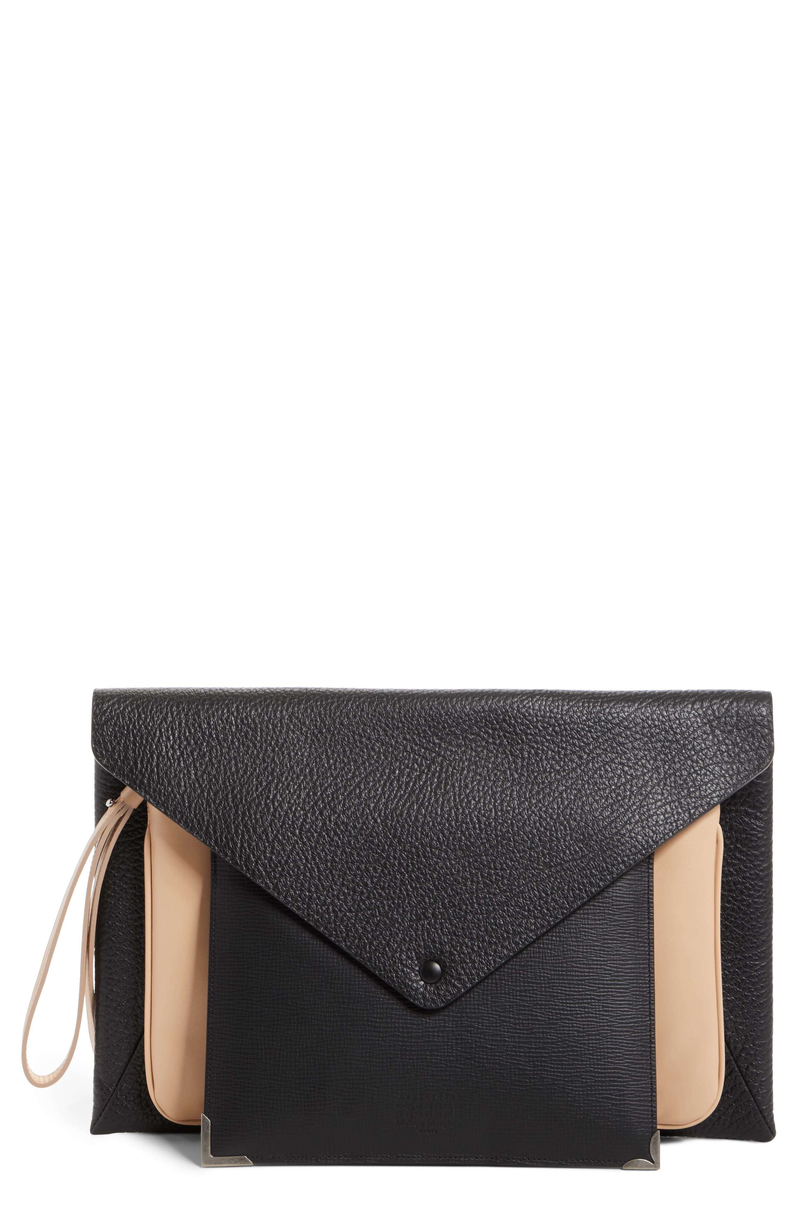 Three-in-One Stacked Leather Pouches,                         Main,                         color, Black Nude Black